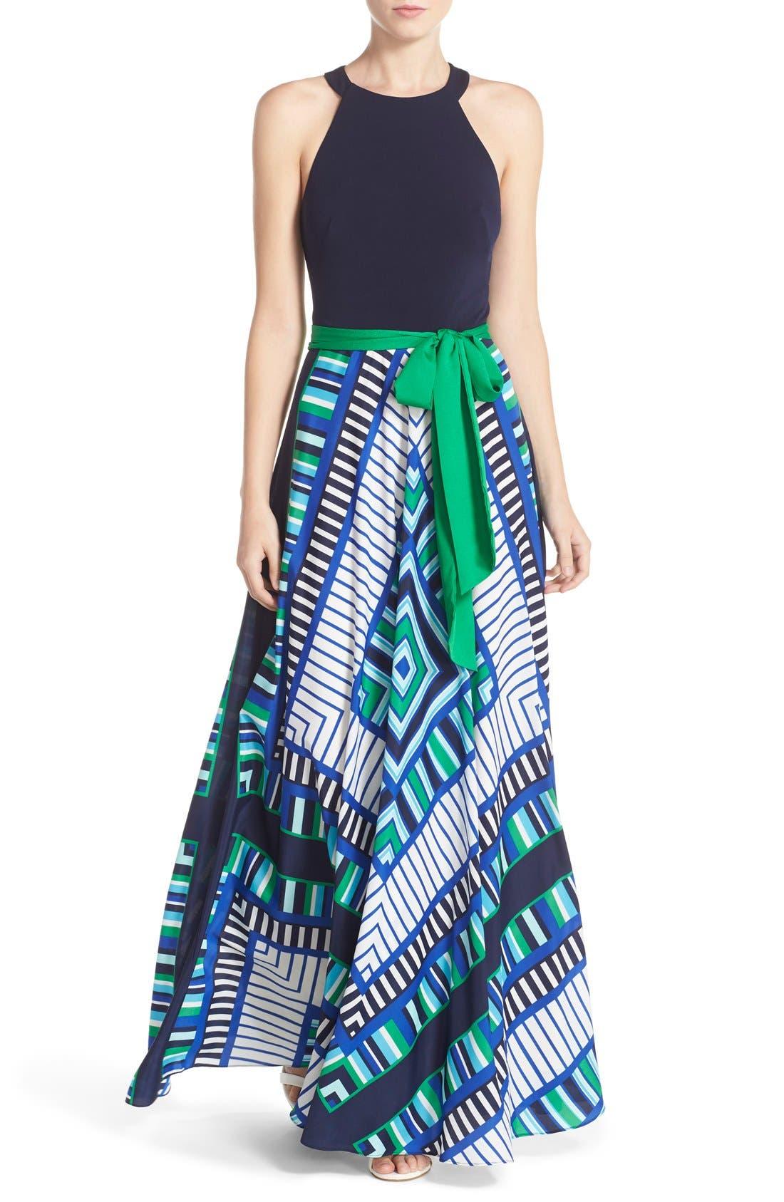 Alternate Image 1 Selected - Eliza J Scarf Print Jersey & Crêpe de Chine Maxi Dress (Regular & Petite)