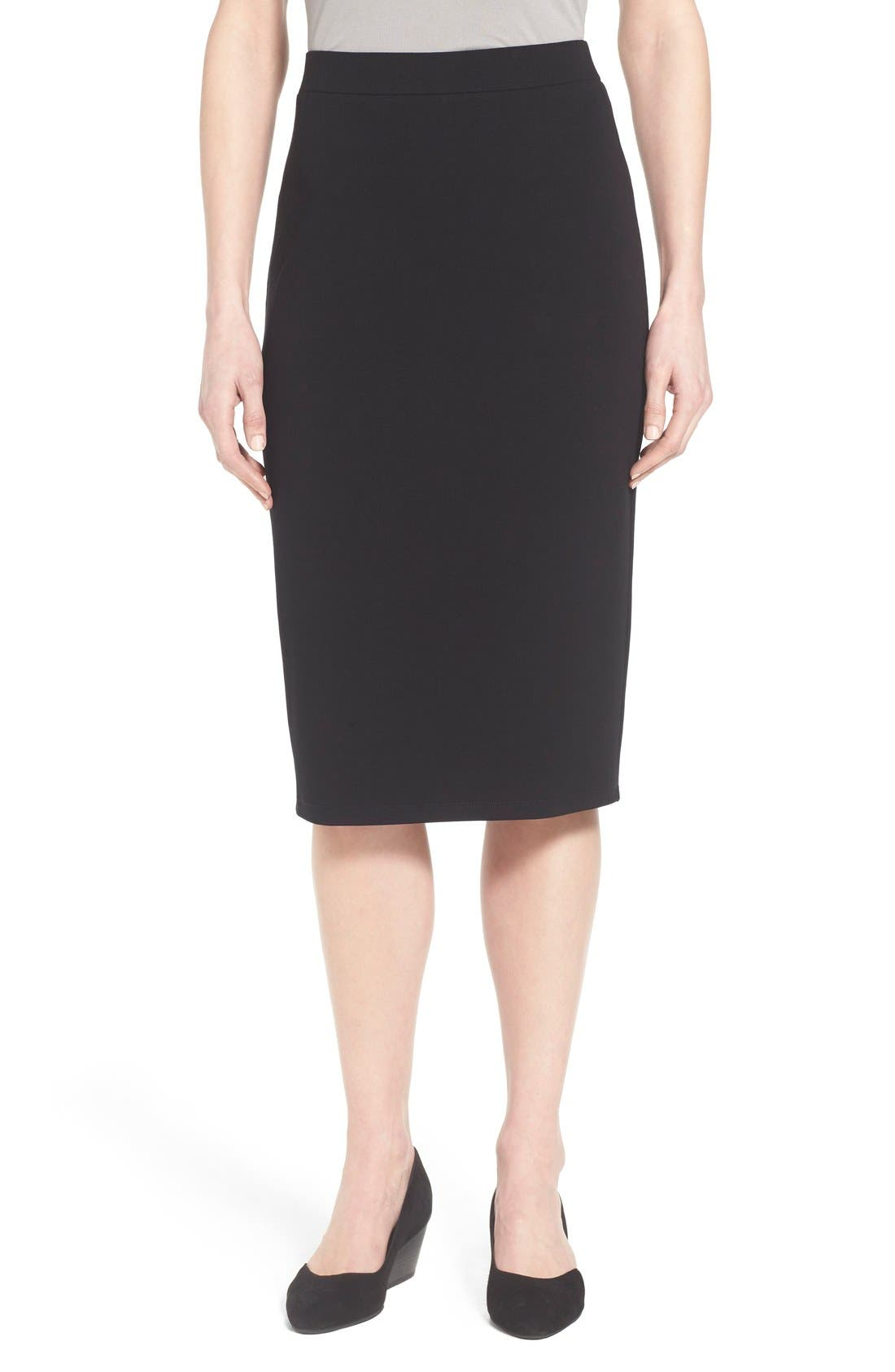 Eileen Fisher Calf Length Pencil Skirt (Regular & Petite)