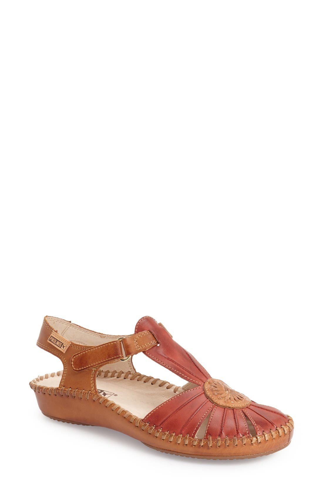 'P. Vallerta' Leather Flat,                             Main thumbnail 1, color,                             Sandia Brandy Leather