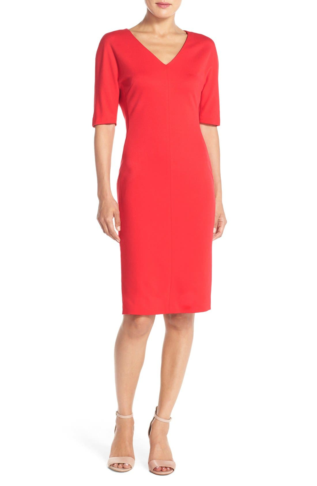 V-Neck Crepe Sheath Dress,                         Main,                         color, Salsa