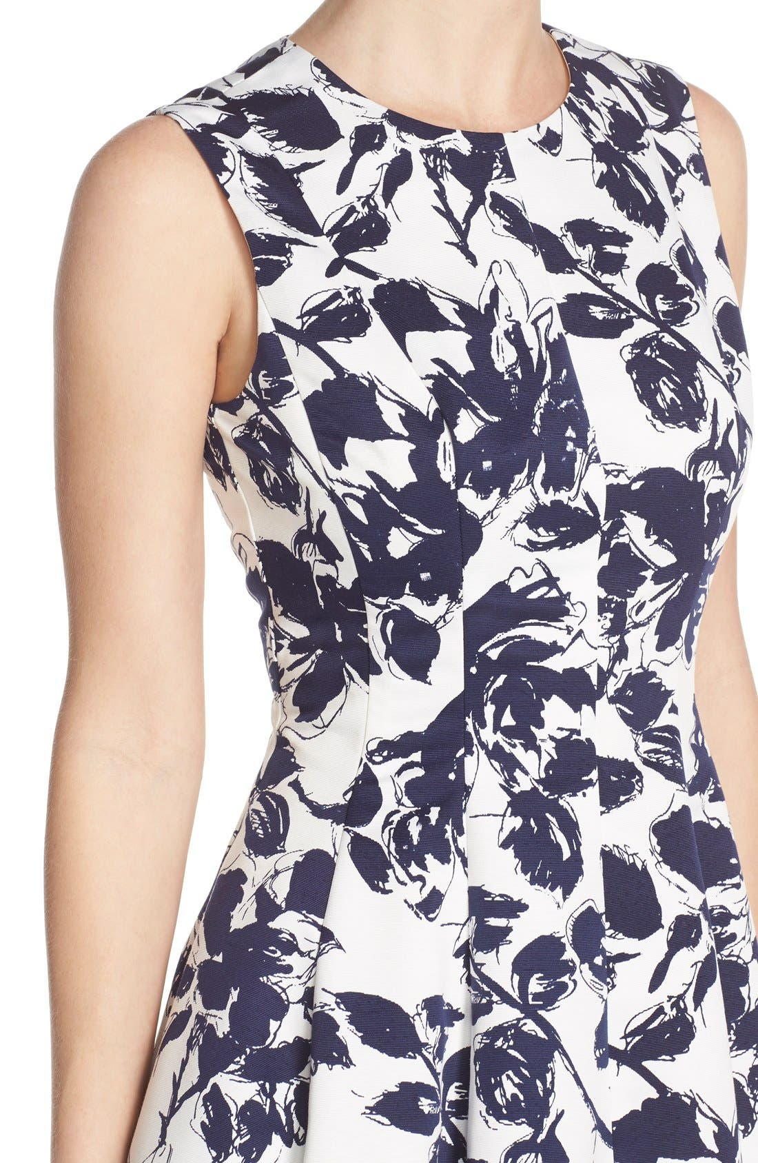 Floral Print Faille Midi Dress,                             Alternate thumbnail 5, color,                             Navy/ Ivory