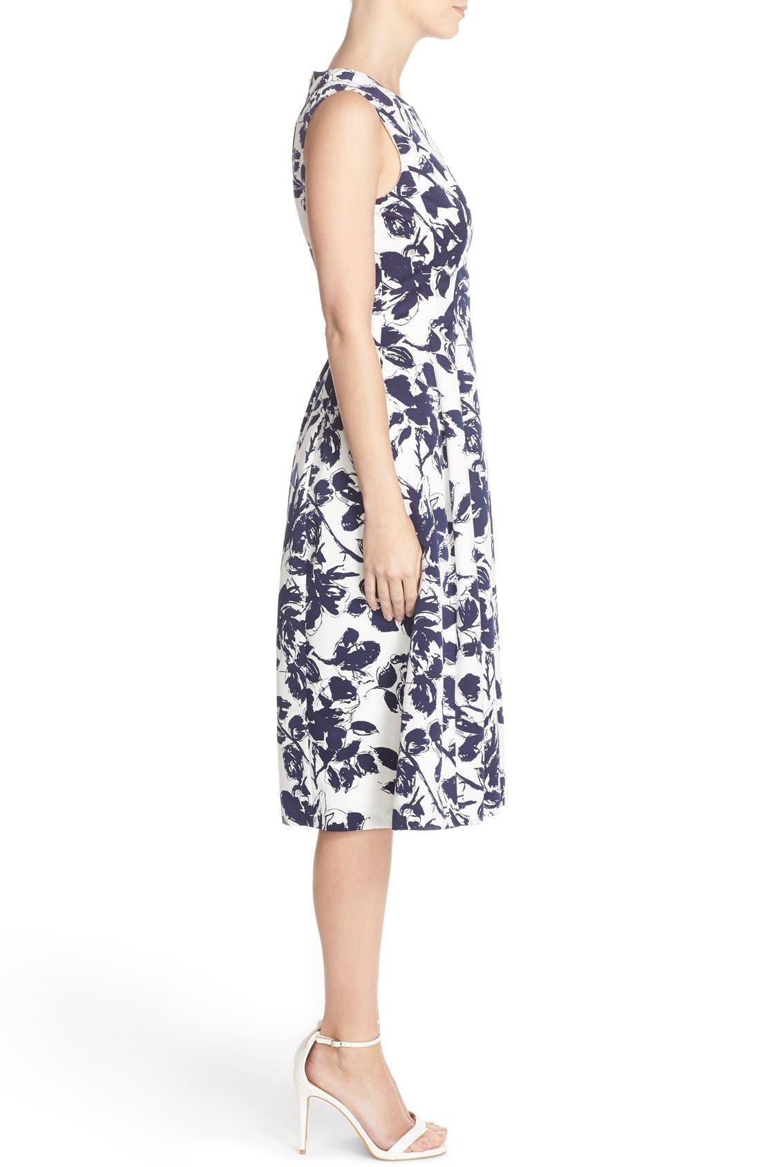 Floral Print Faille Midi Dress,                             Alternate thumbnail 3, color,                             Navy/ Ivory
