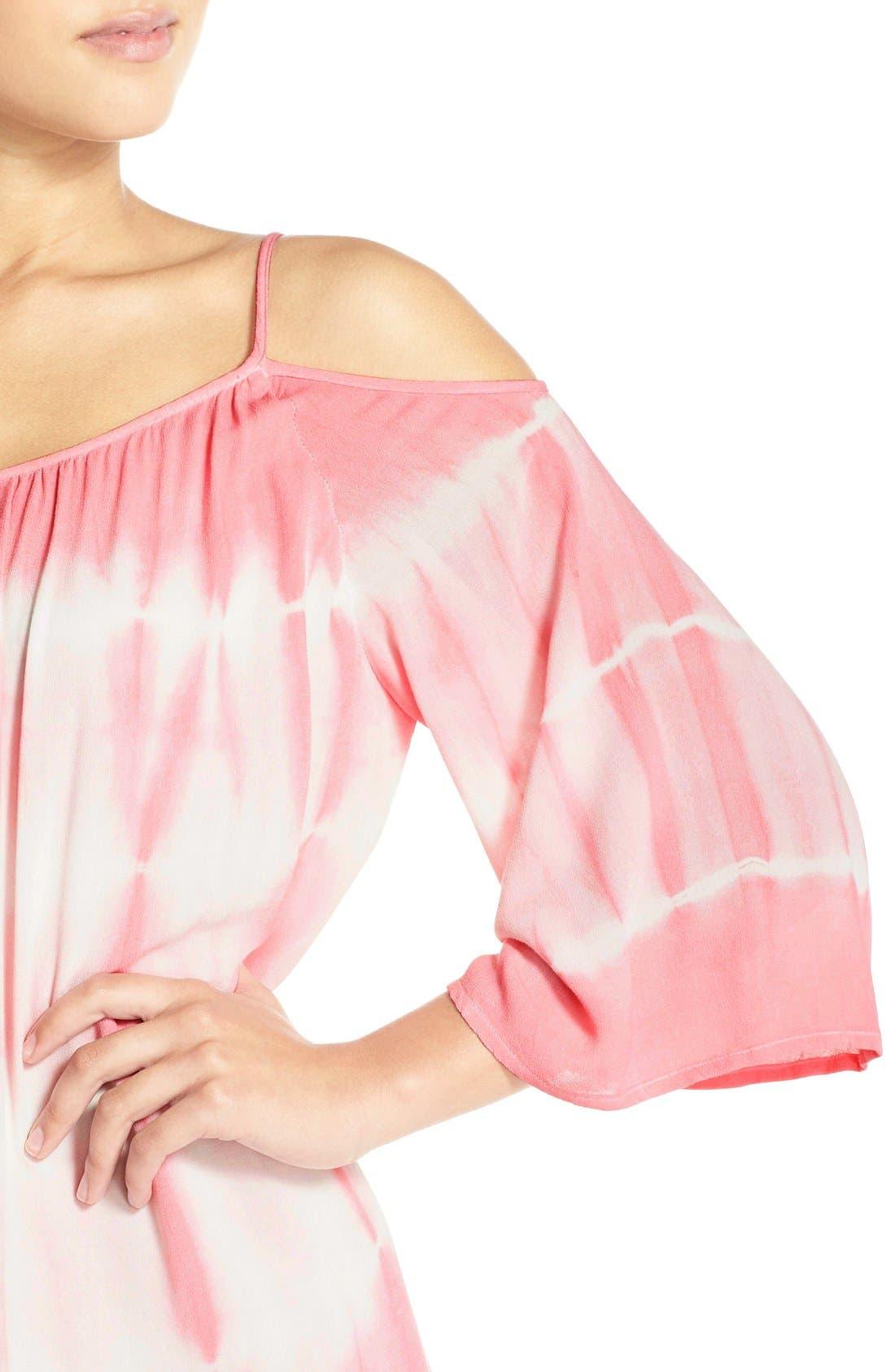 Alternate Image 4  - Fraiche by J Tie Dye Crepe Cold Shoulder Dress