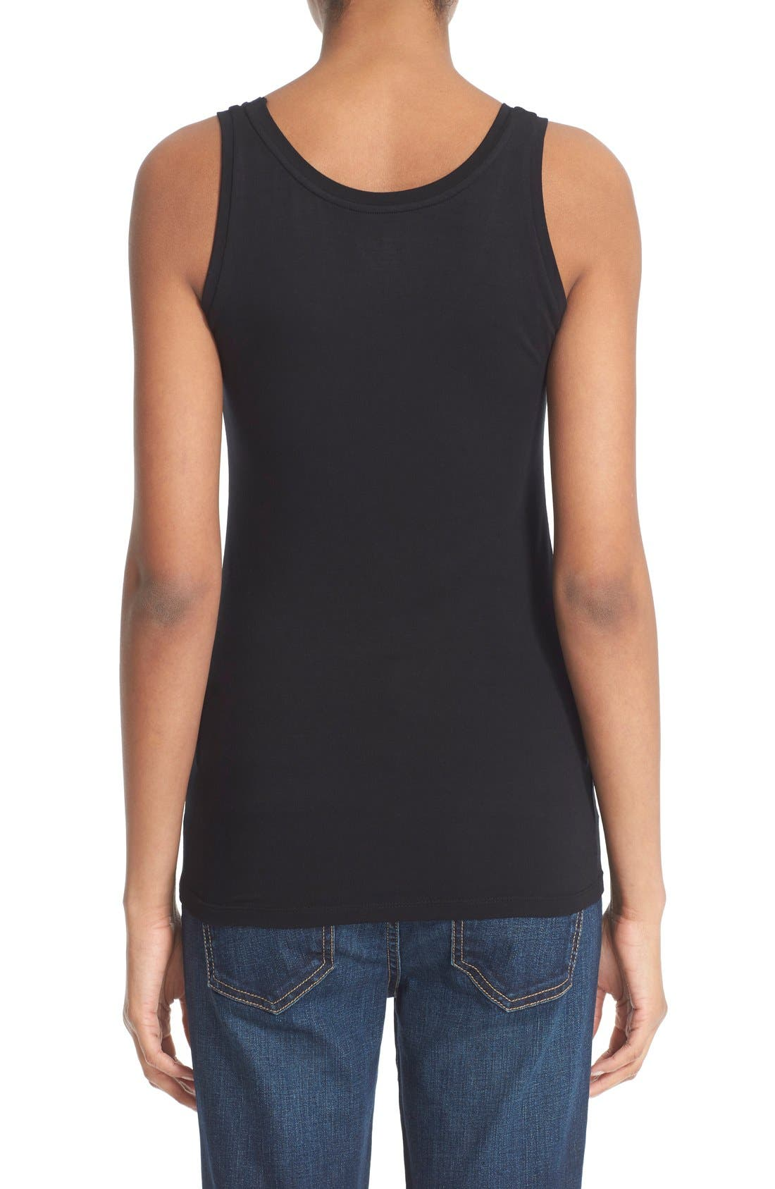 Rib Knit Tank,                             Alternate thumbnail 2, color,                             Noir