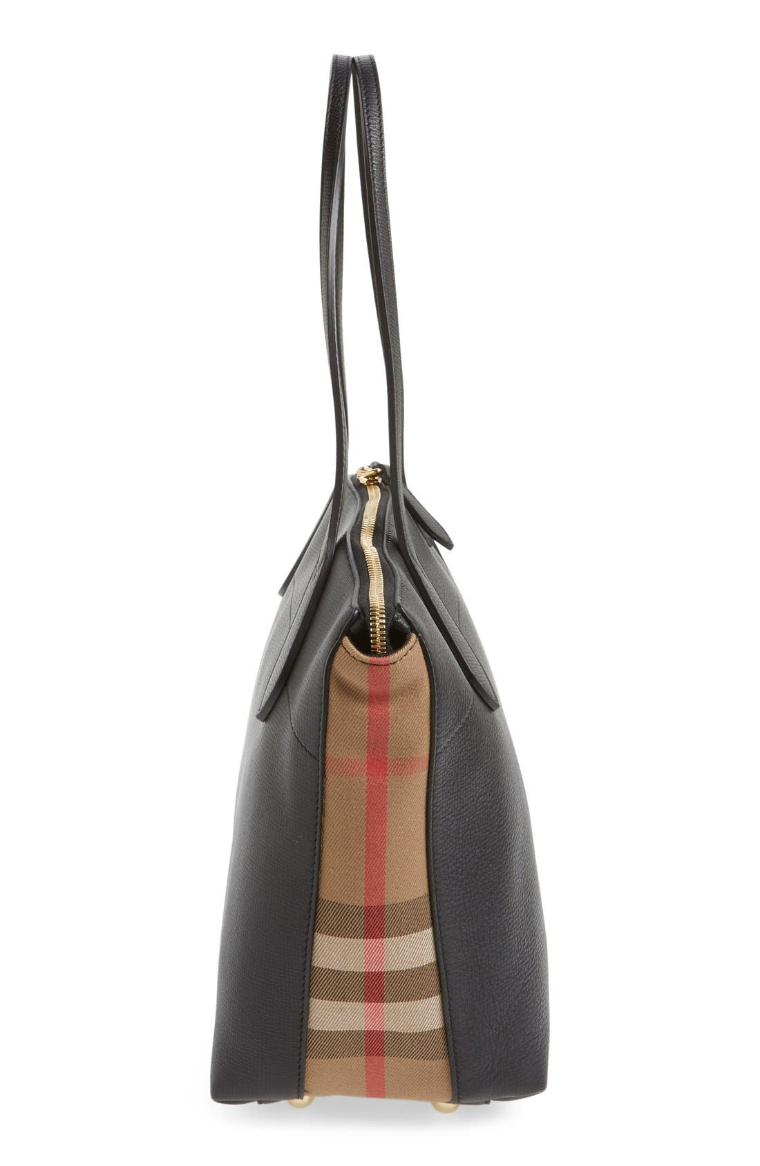 Alternate Image 5  - Burberry Welburn Check Leather Tote