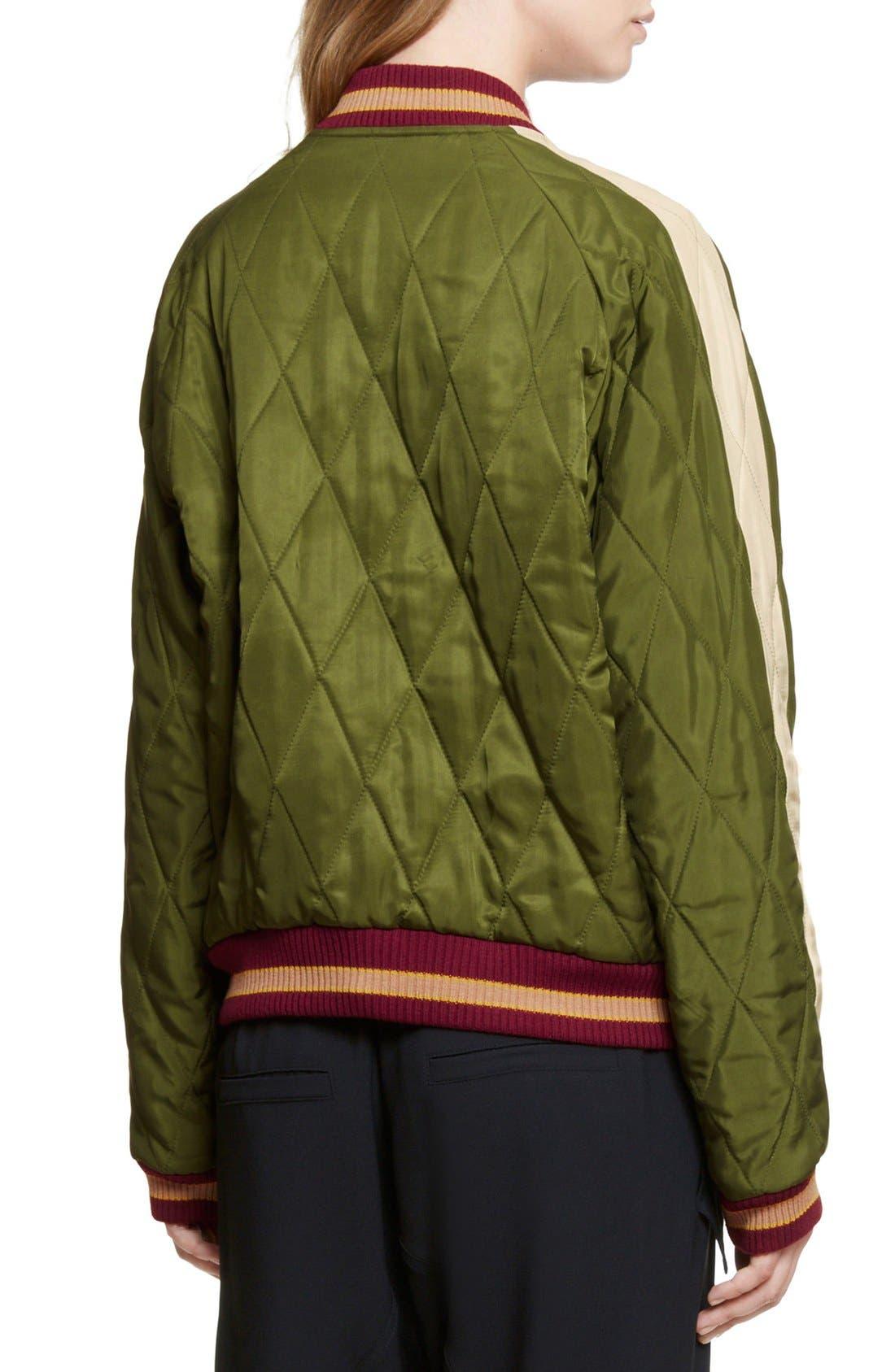 Reversible Embroidered Tech Satin Bomber Jacket,                             Alternate thumbnail 3, color,                             Deep Green