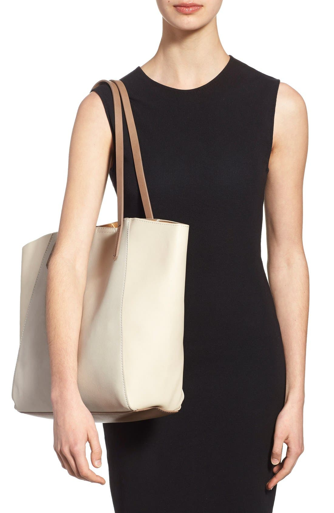 Colorblock Faux Leather Tote,                             Alternate thumbnail 2, color,                             Tan