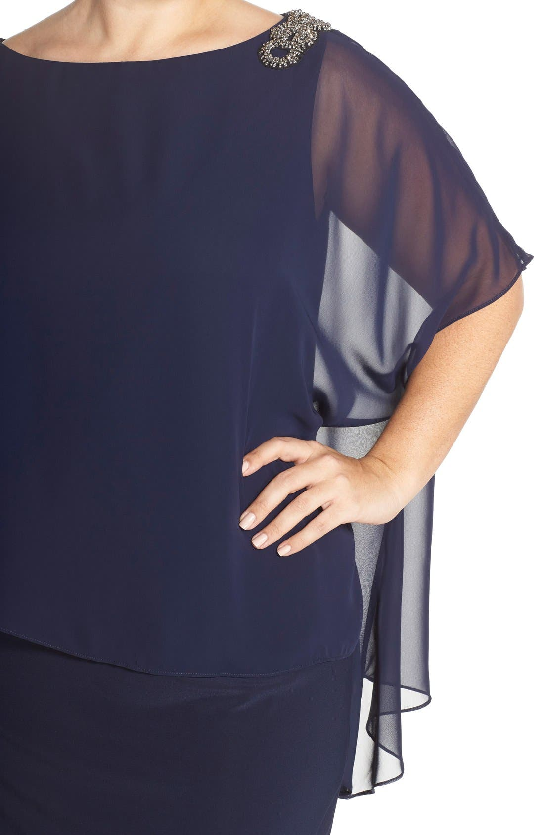Embellished Chiffon Overlay Jersey Dress,                             Alternate thumbnail 4, color,                             Lovely Navy