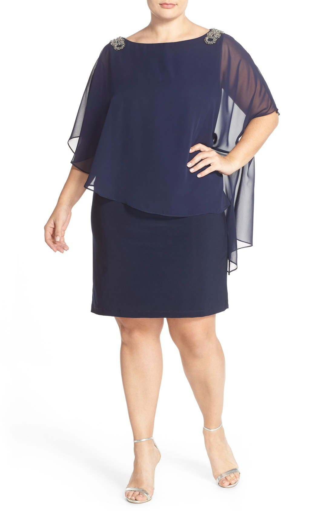 Embellished Chiffon Overlay Jersey Dress,                             Main thumbnail 1, color,                             Lovely Navy