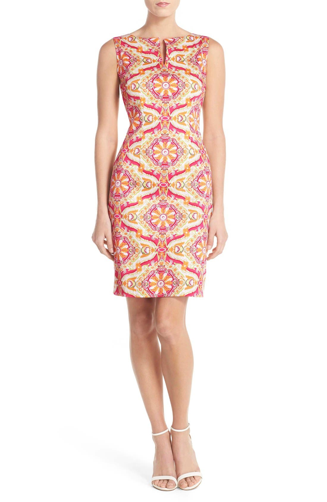 Main Image - Chetta B Print Sateen Sheath Dress