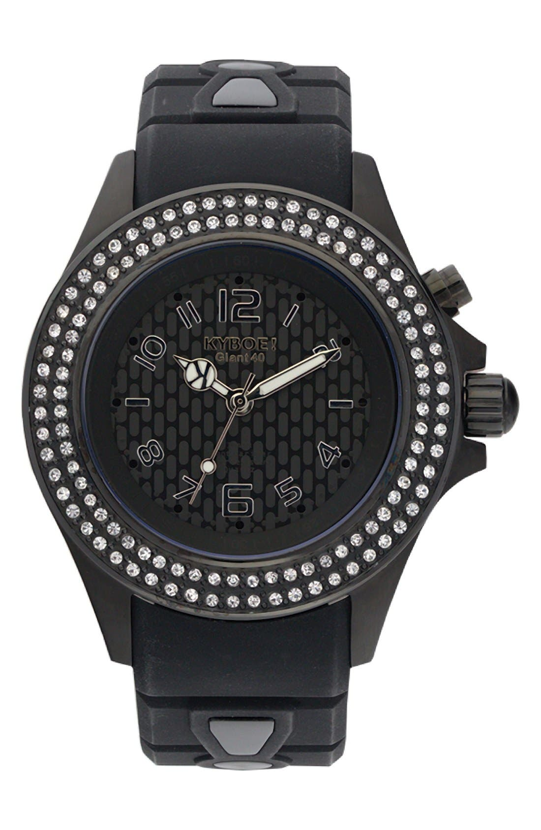 'Radiant' Crystal Bezel Silicone Strap Watch, 40mm,                             Main thumbnail 1, color,                             Black