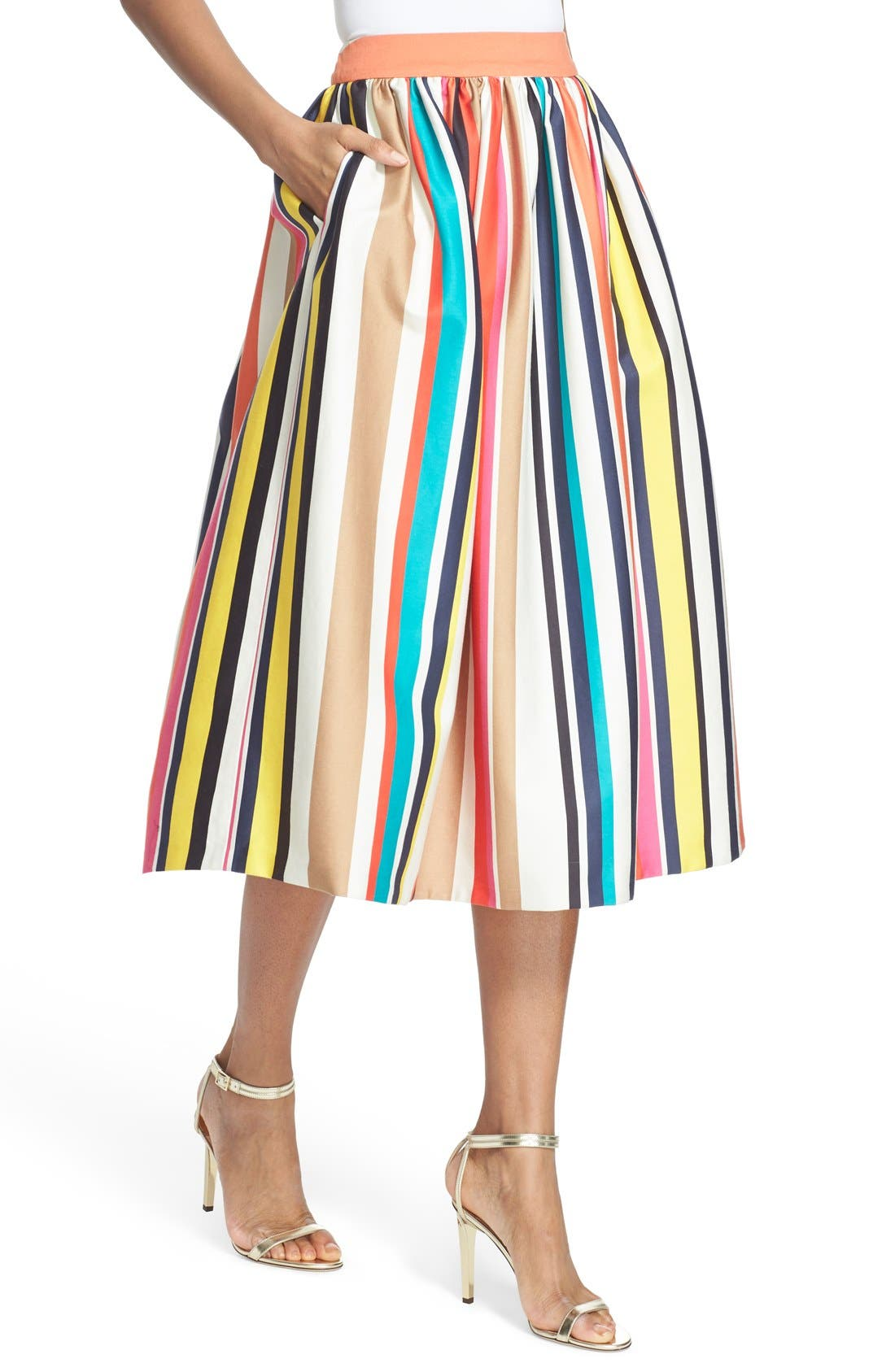 Alternate Image 5  - Alice + Olivia 'Nikola' Stripe Midi Skirt