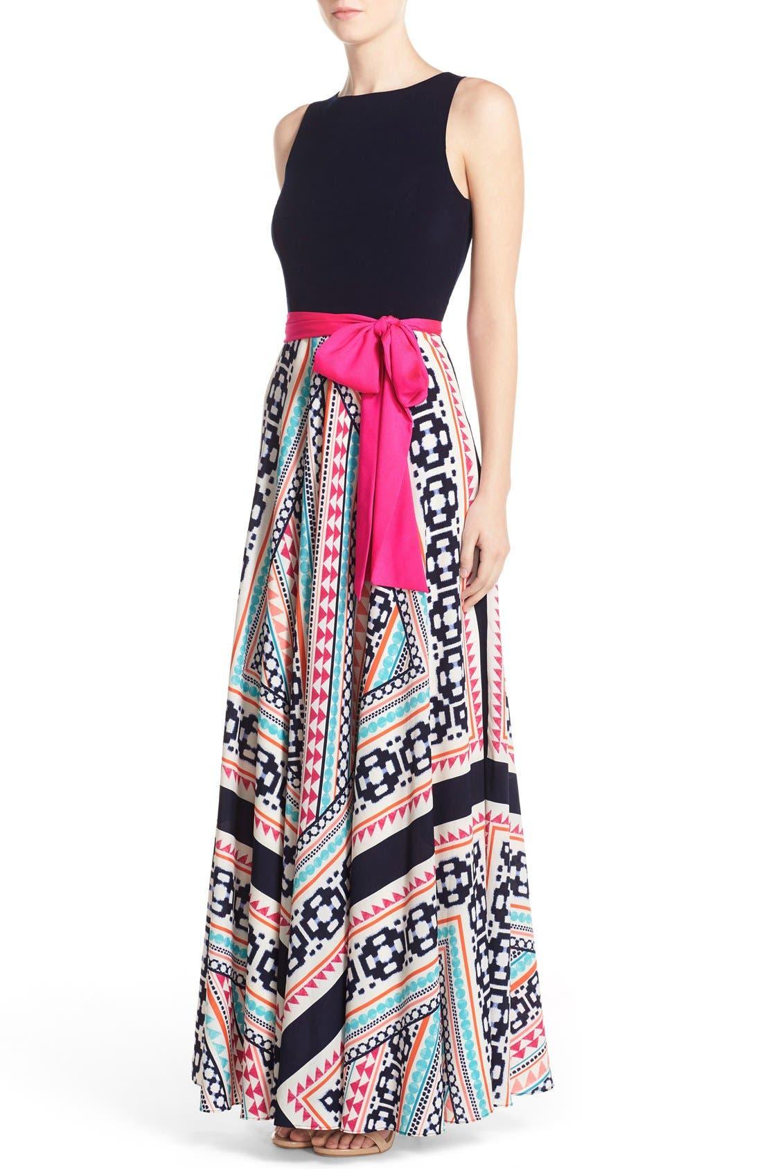 Jersey & Print Crêpe de Chine Maxi Dress,                             Alternate thumbnail 3, color,                             Pink