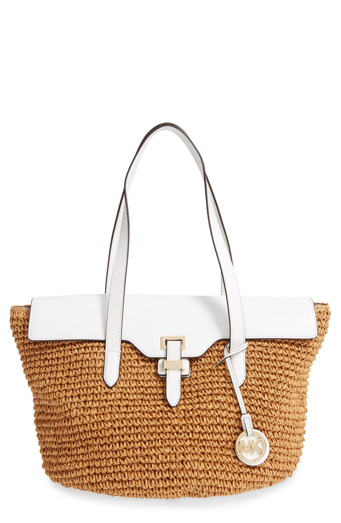 'Large Naomi' Straw Tote,                         Main,                         color, Optic White/ Gold