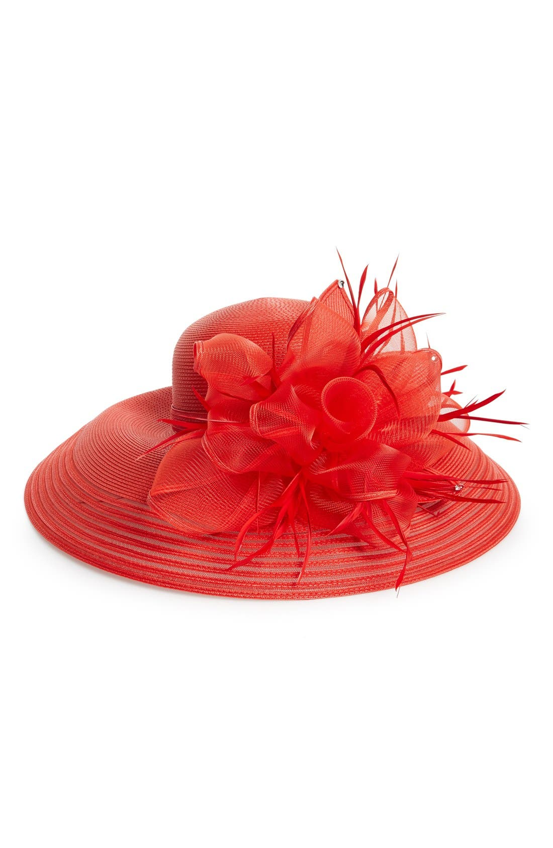 Crystal Embellished Floral Hat,                             Main thumbnail 1, color,                             Red