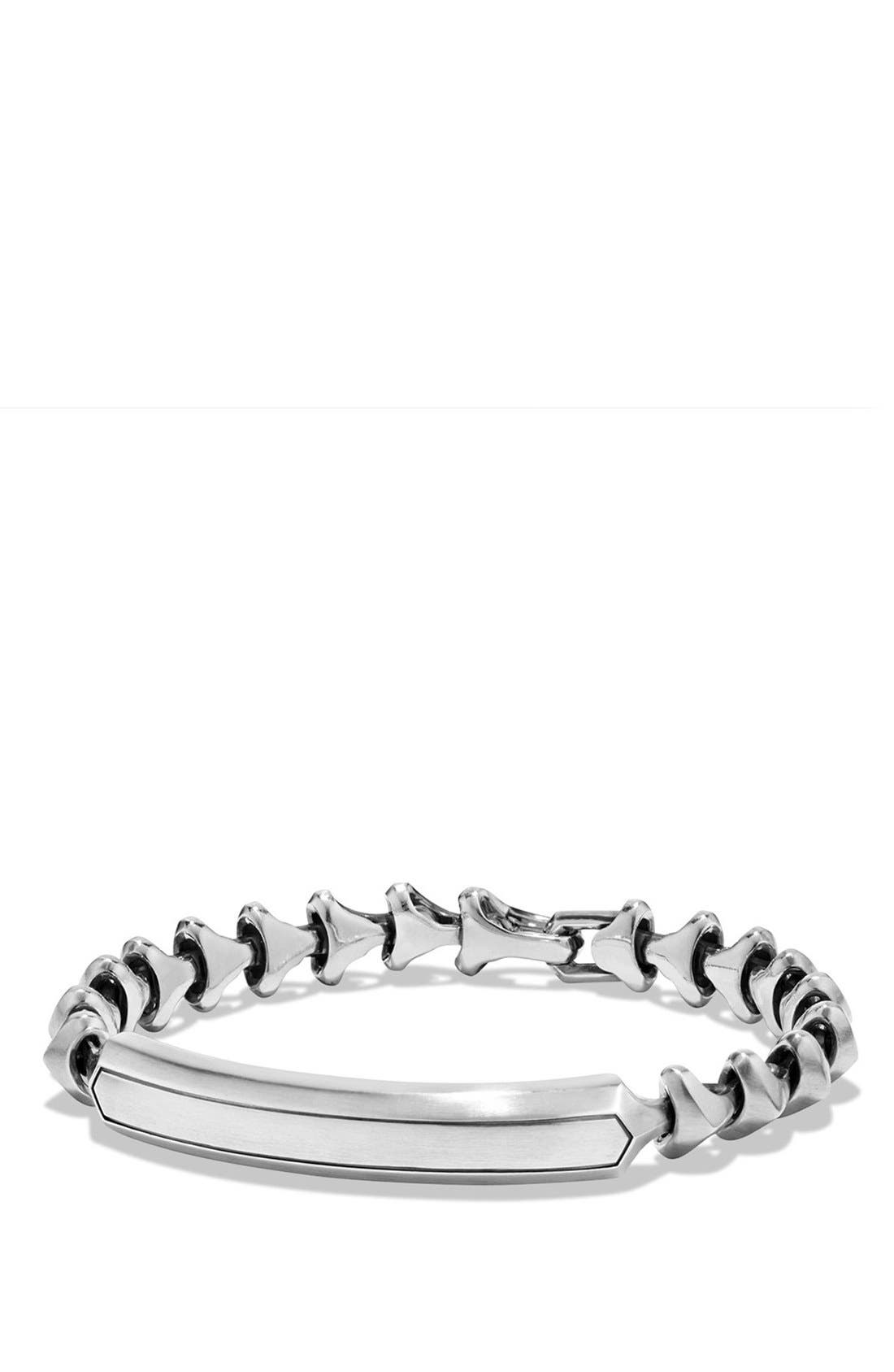 'Armory' Single Row ID Bracelet,                         Main,                         color, Silver