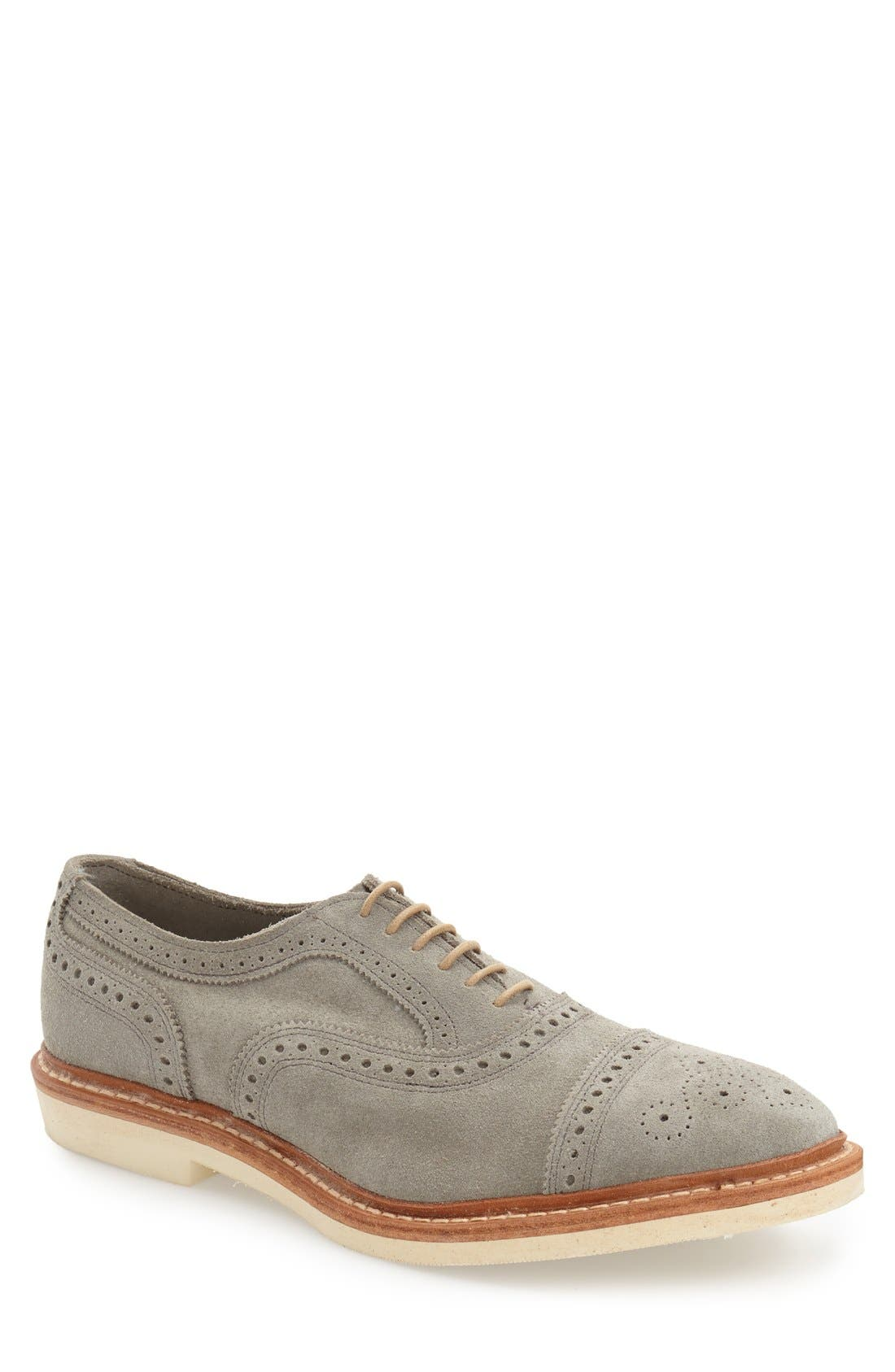 'Strandmok' Cap Toe Oxford,                             Main thumbnail 1, color,                             Grey Suede
