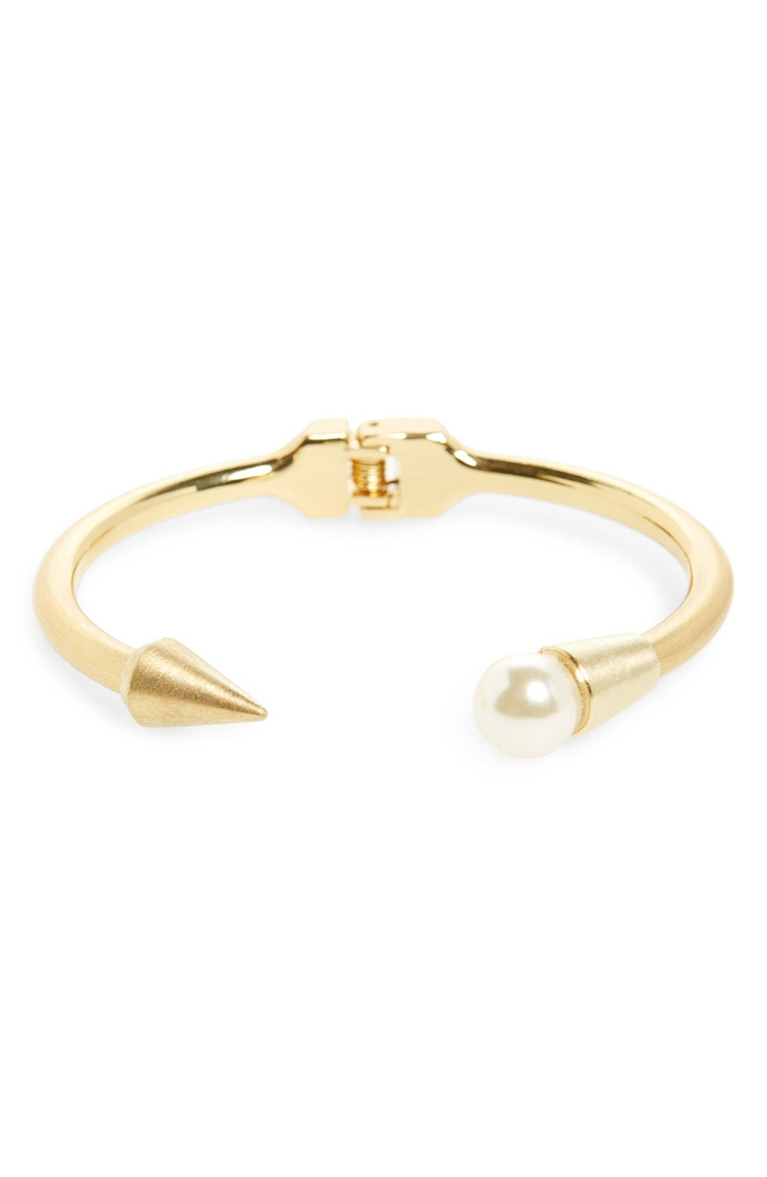 Alternate Image 1 Selected - Panacea Pearly Bead & Spike Hinged Station Cuff