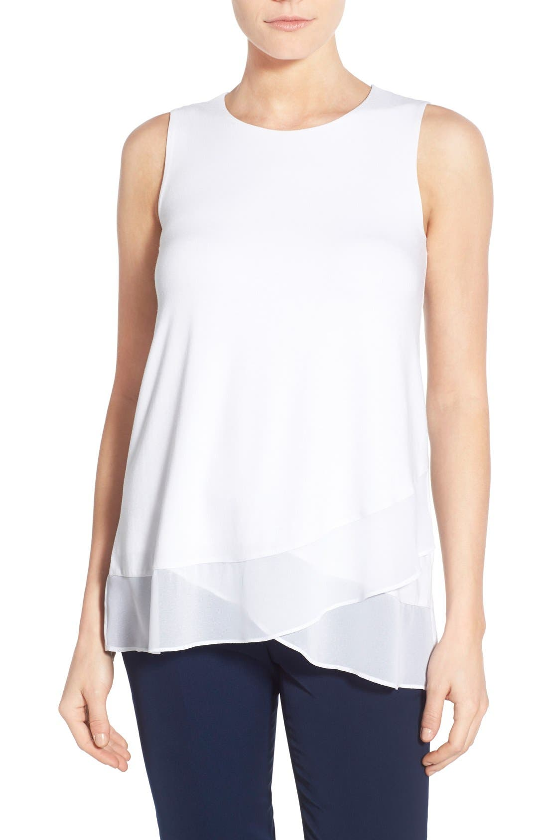 Alternate Image 1 Selected - Vince Camuto Sleeveless Top with Asymmetrical Chiffon Hem