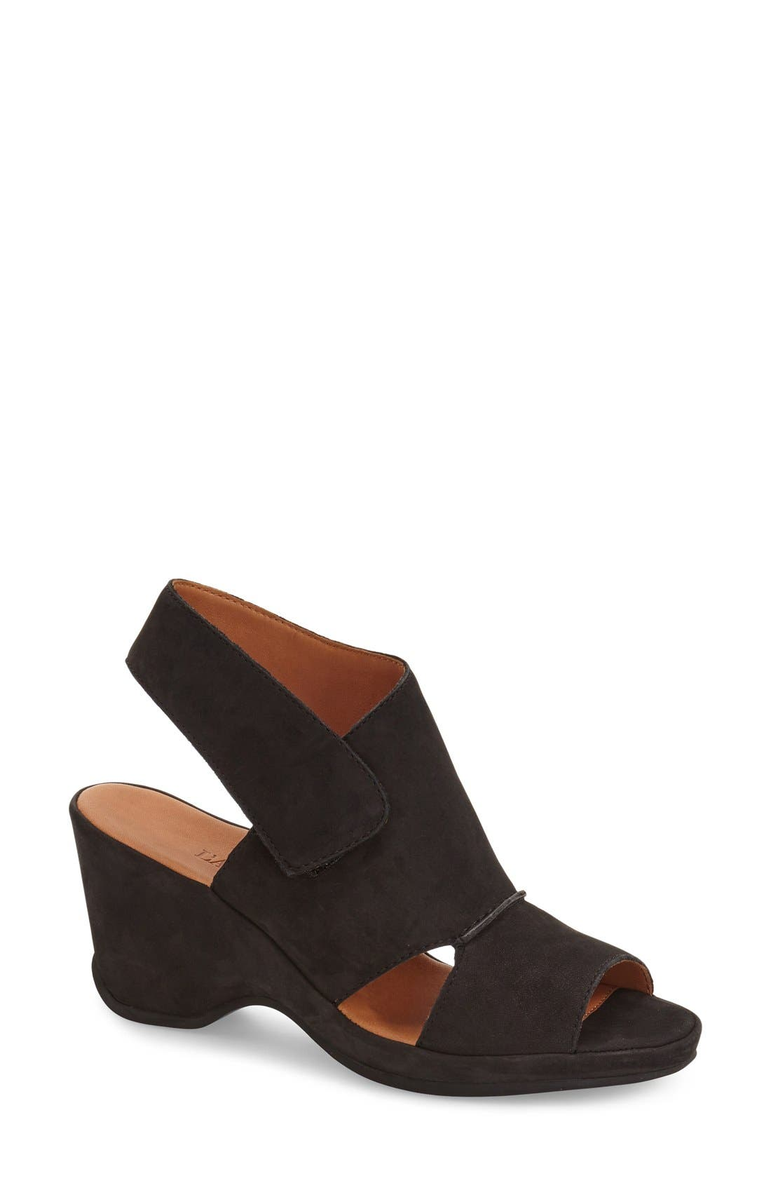 'Oswin' Peep Toe Demi Wedge Sandal,                             Main thumbnail 1, color,                             Black Nubuck Leather