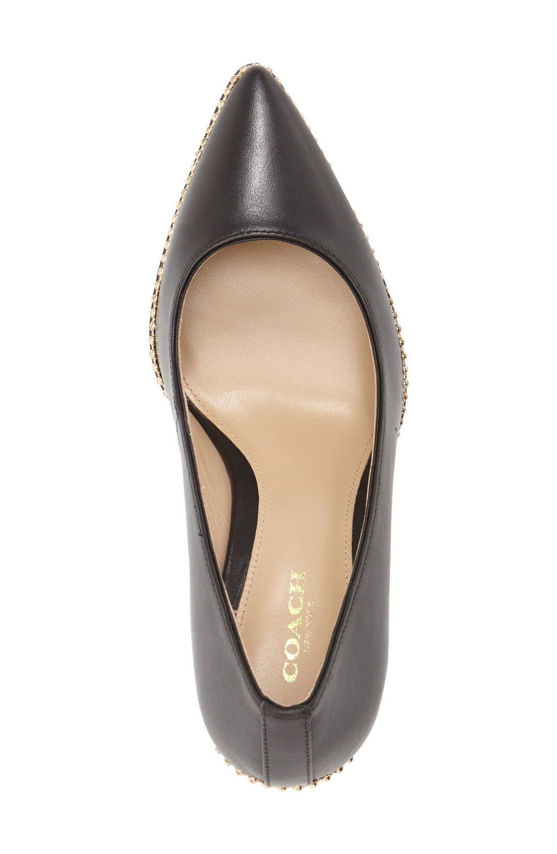 'Smith' Pointy ToePump,                             Alternate thumbnail 3, color,                             Black Leather
