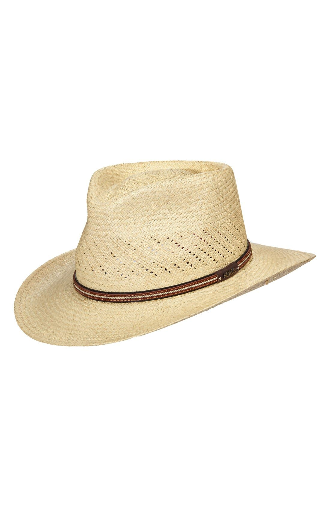 Straw Panama Hat,                             Main thumbnail 1, color,                             Natural