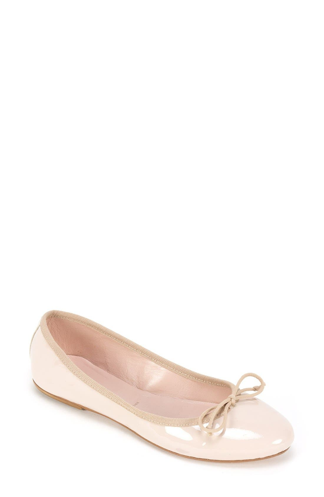 'Kendall' Ballet Flat,                             Main thumbnail 1, color,                             Nude Patent Leather