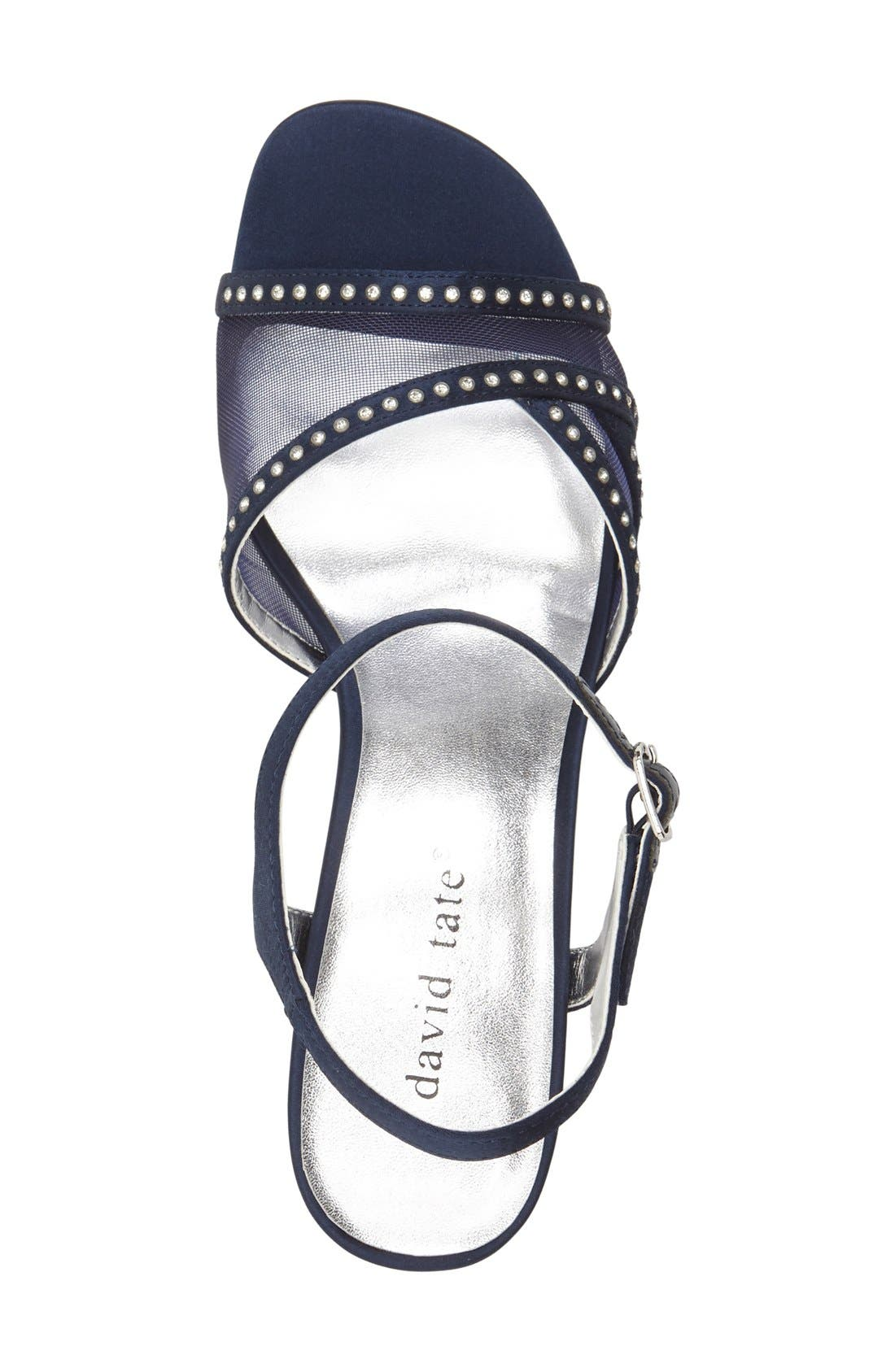 'Violet - Night Out' Sandal,                             Alternate thumbnail 3, color,                             Navy Satin