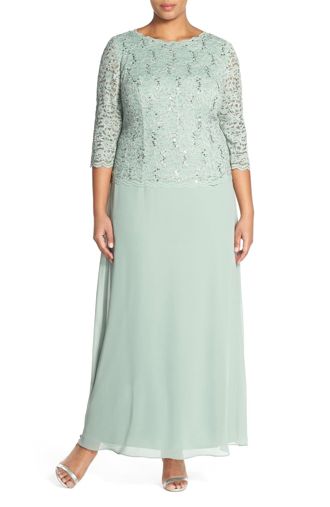 Embellished Lace & Chiffon Gown,                             Main thumbnail 1, color,                             Sage