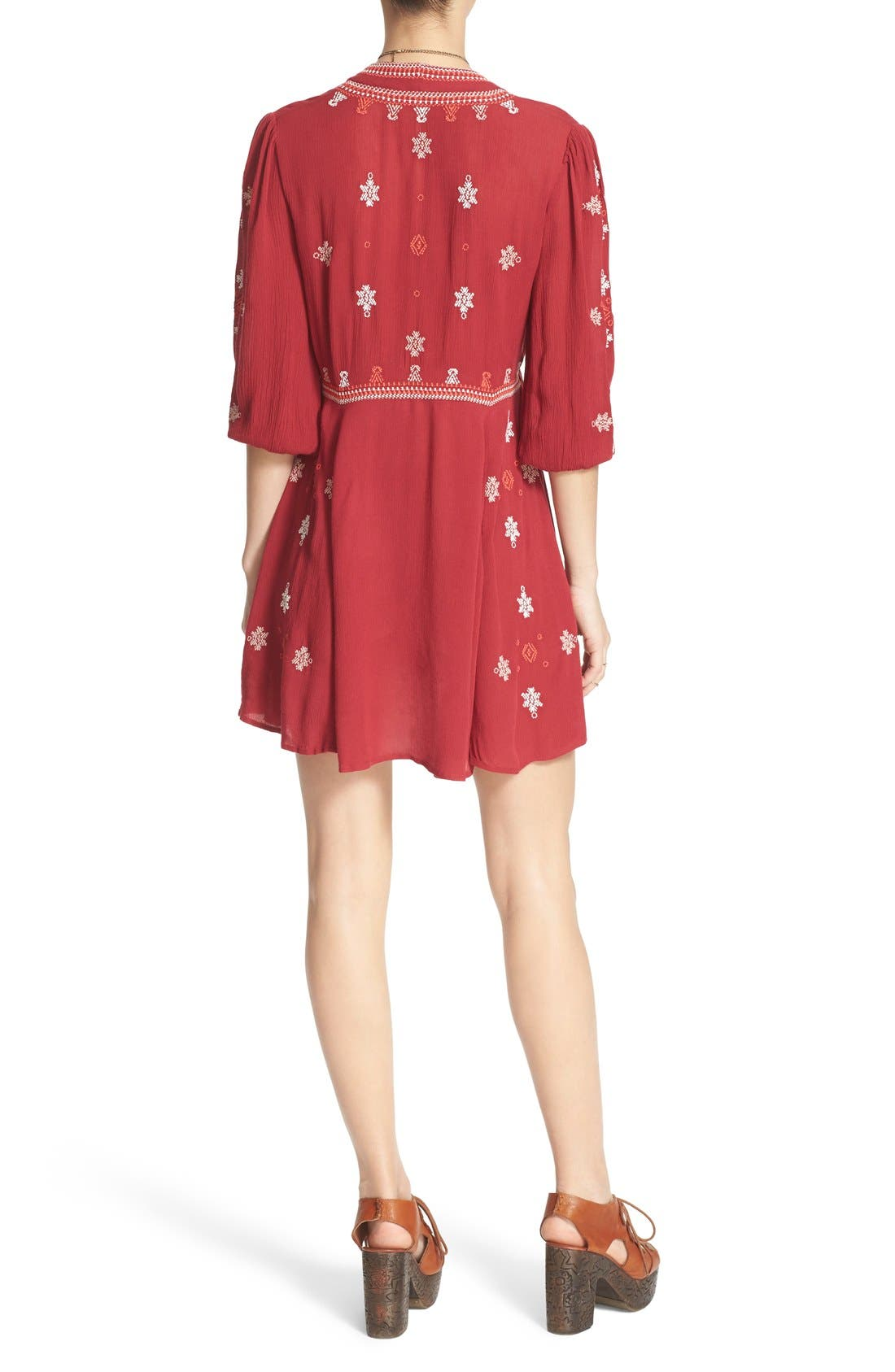 'Star Gazer' Embroidered Tunic Dress,                             Alternate thumbnail 3, color,                             Red Combo