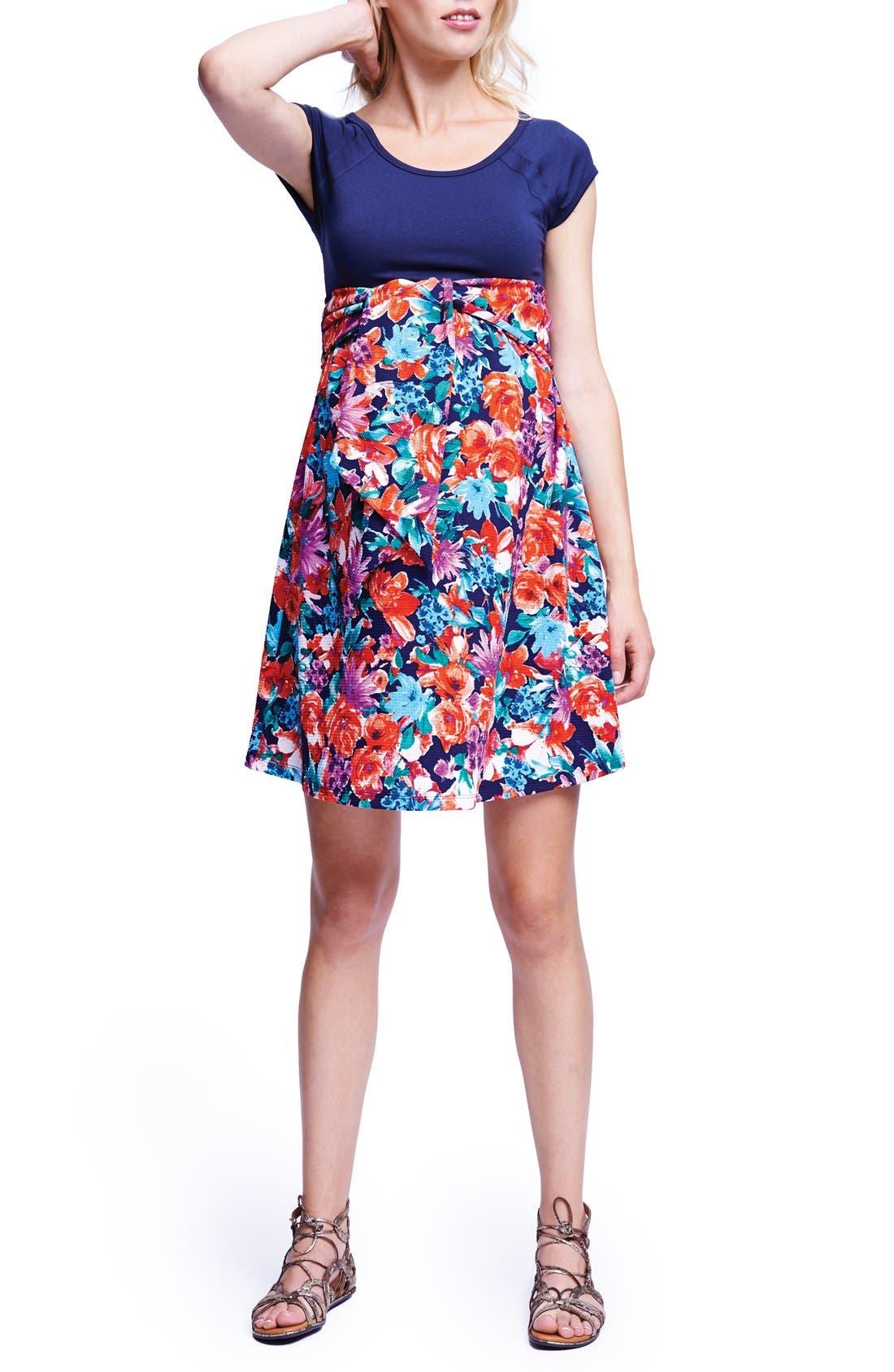 Tie Front Maternity Dress,                         Main,                         color, Navy/ Flower Garden
