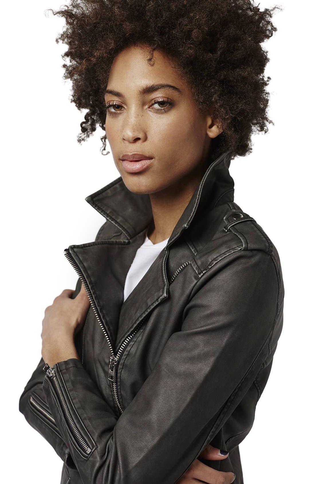 'Mahoney' Faux Leather Biker Jacket,                             Alternate thumbnail 5, color,                             Black