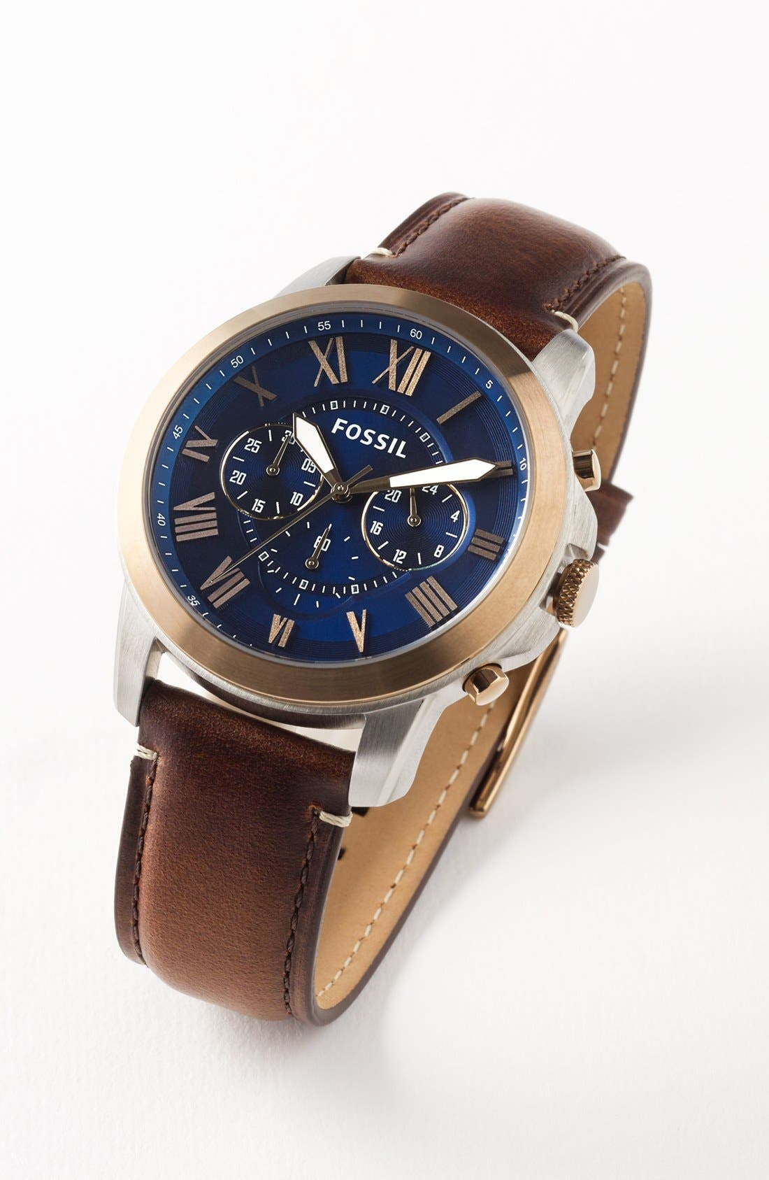 Alternate Image 4  - Fossil 'Grant' Round Chronograph Leather Strap Watch, 44mm