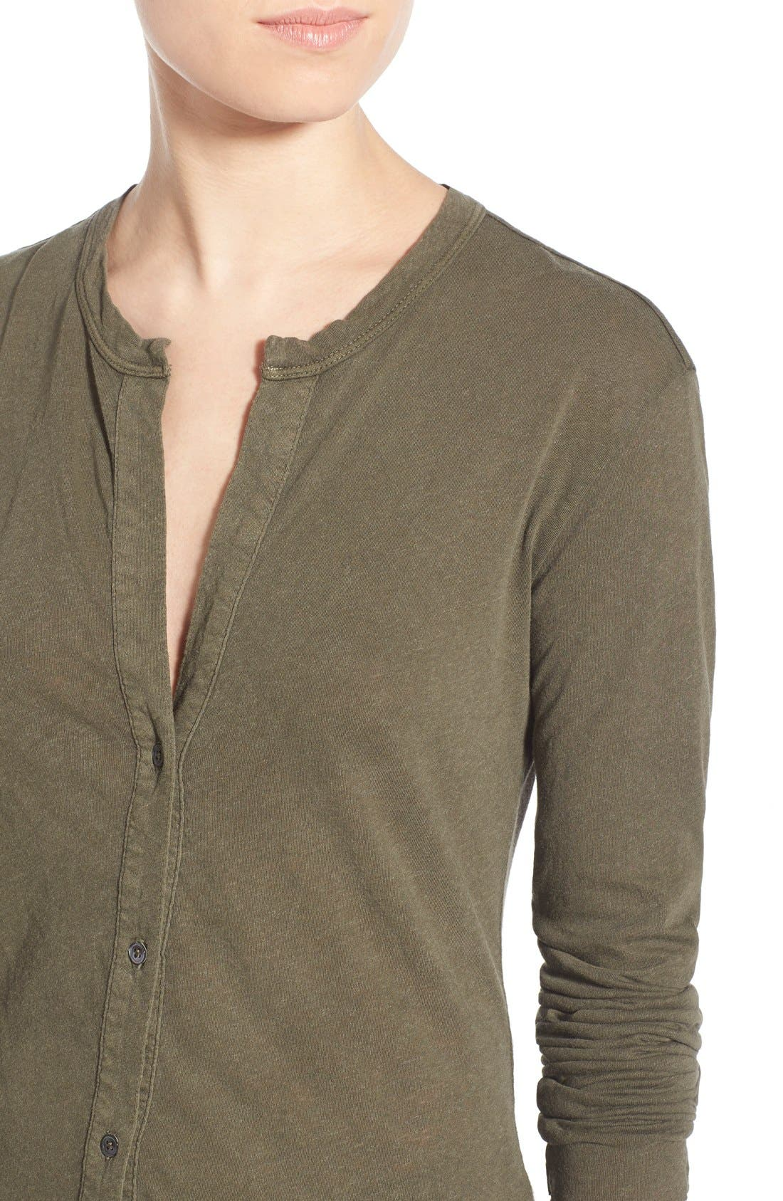 Alternate Image 4  - James Perse Button Front Jersey Shirt
