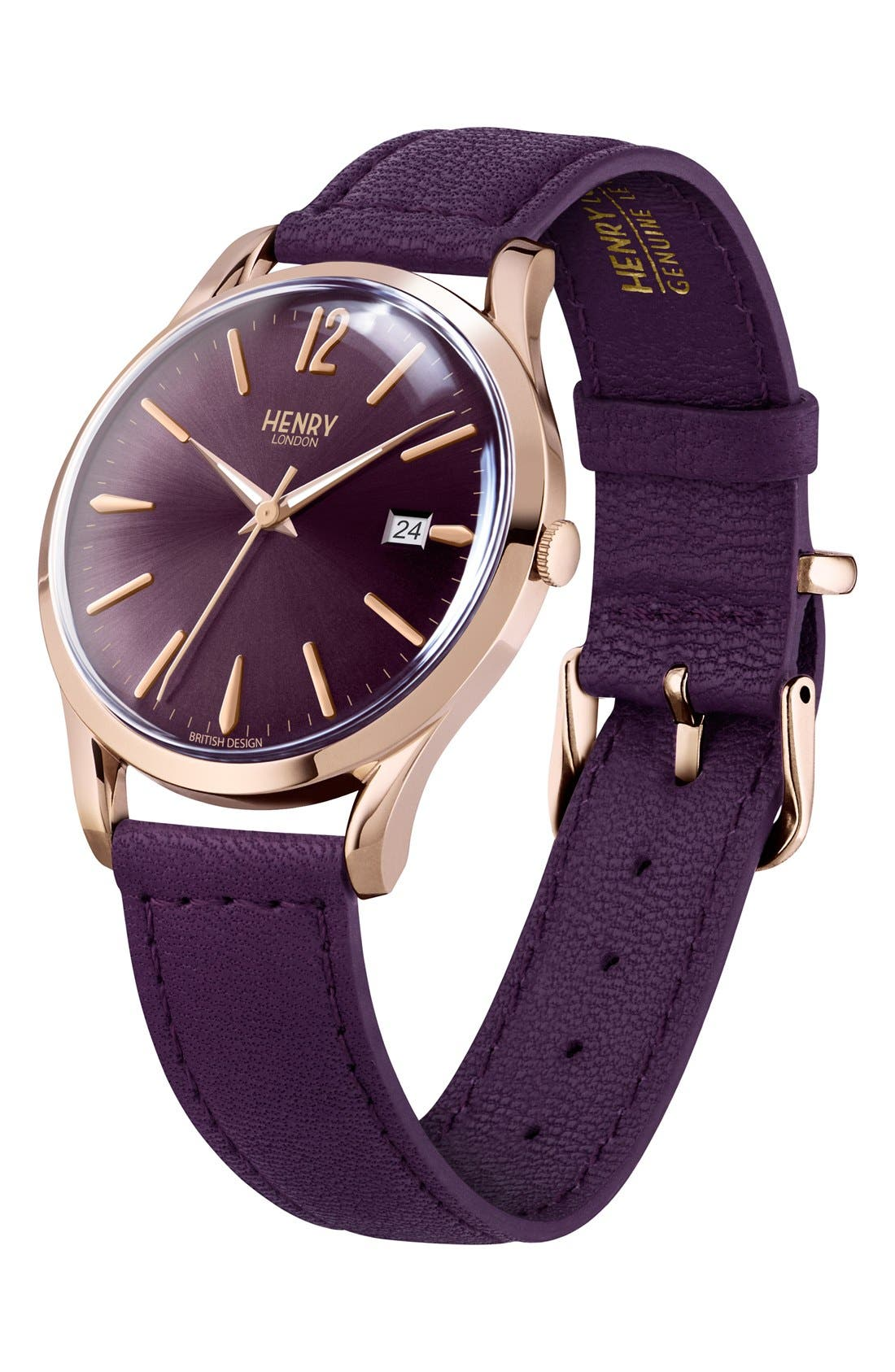 'Hampstead' Leather Strap Watch, 39mm,                             Alternate thumbnail 3, color,                             Berry/ Berry