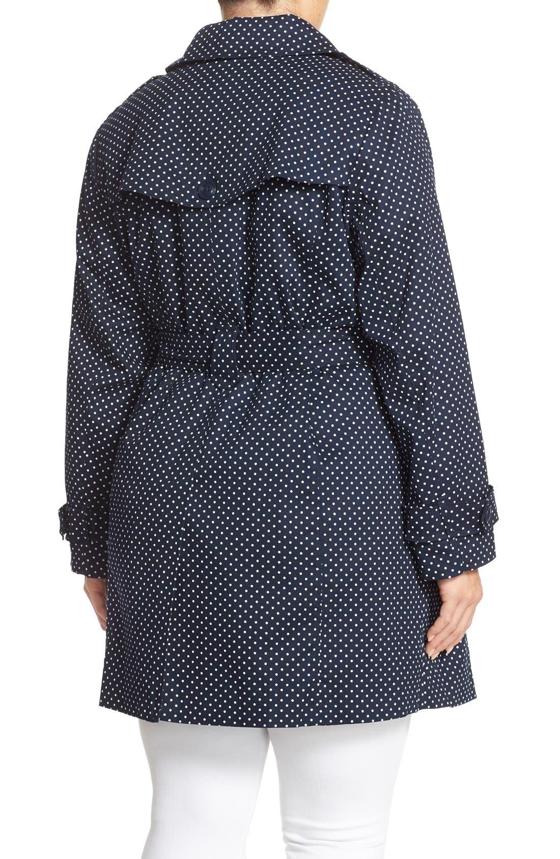 Alternate Image 2  - London Fog Polka Dot Single Breasted Trench Coat (Plus Size)