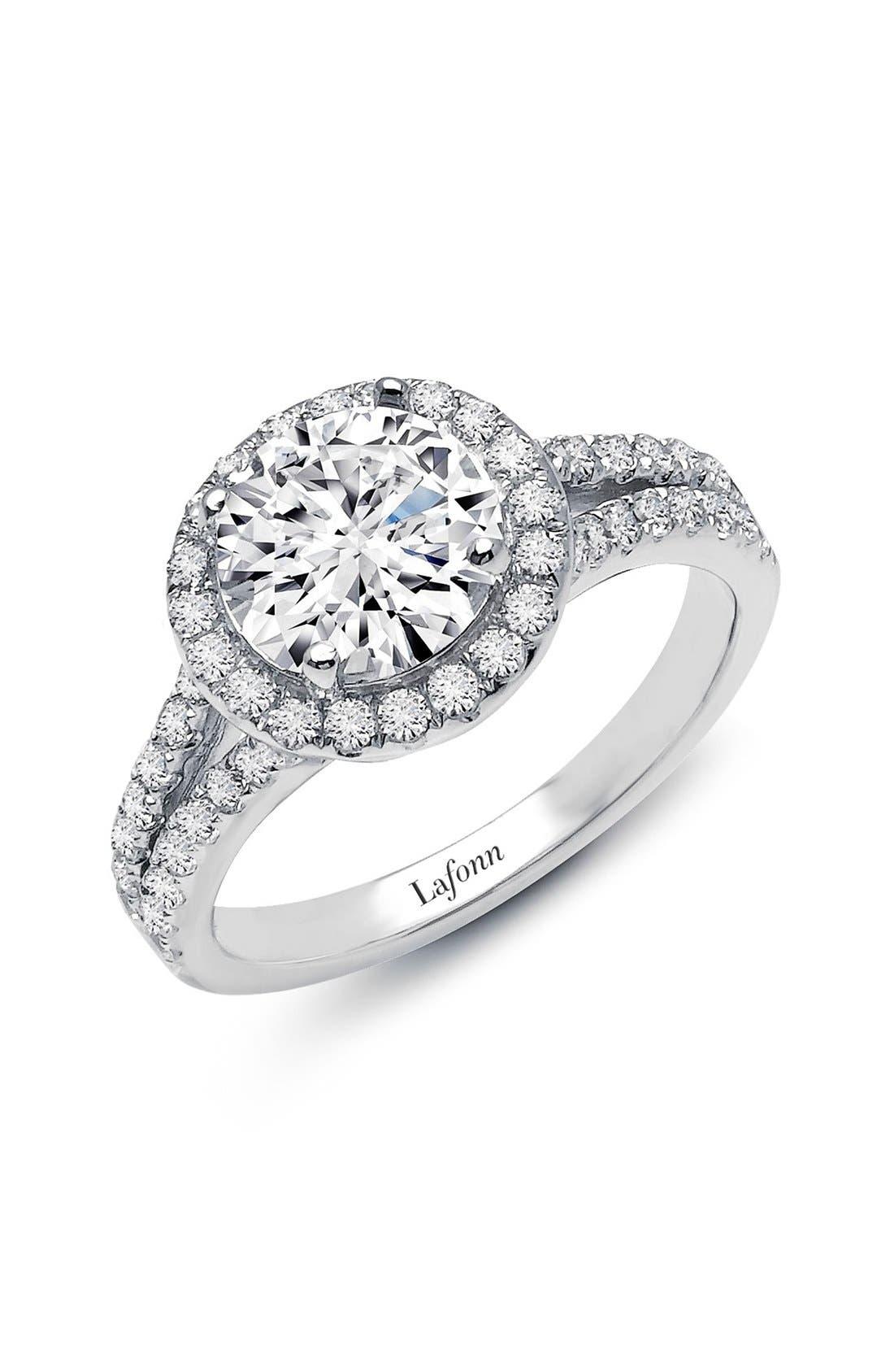 'Lassaire' Split Shank Halo Ring,                         Main,                         color, Silver