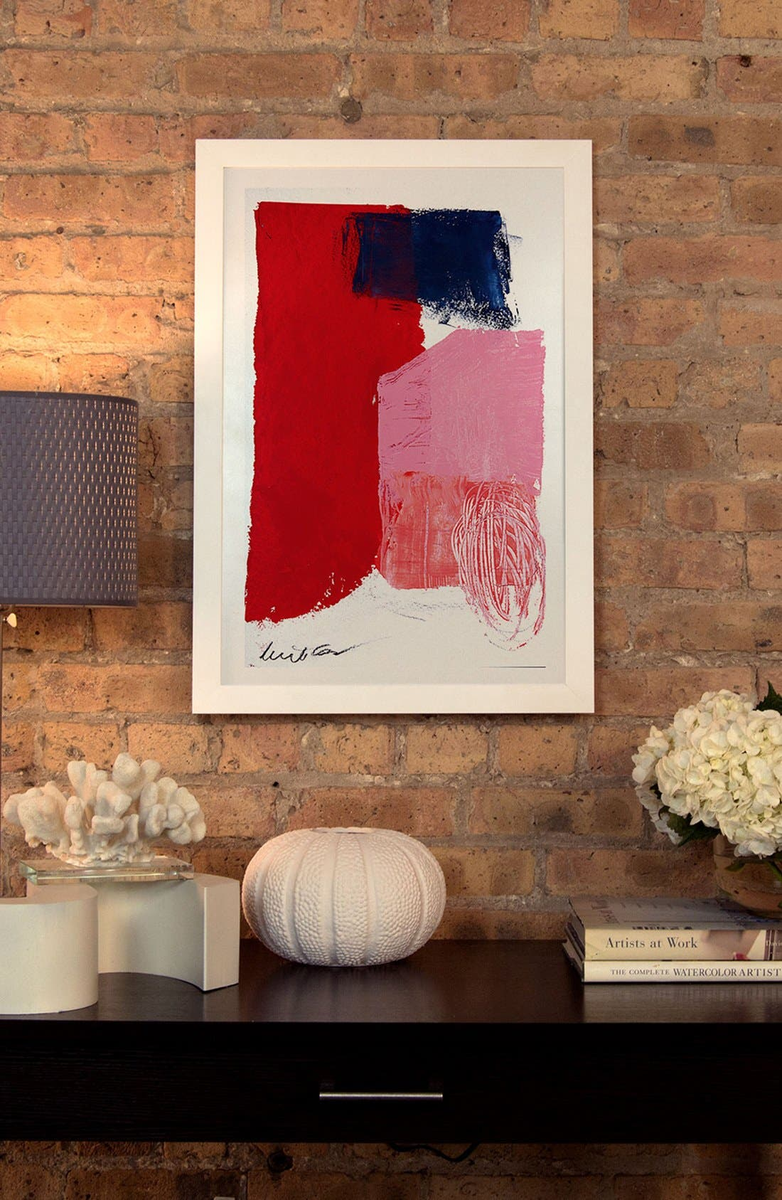 Alternate Image 2  - iCanvas 'Red, Black & Pink' Framed Fine Art Print