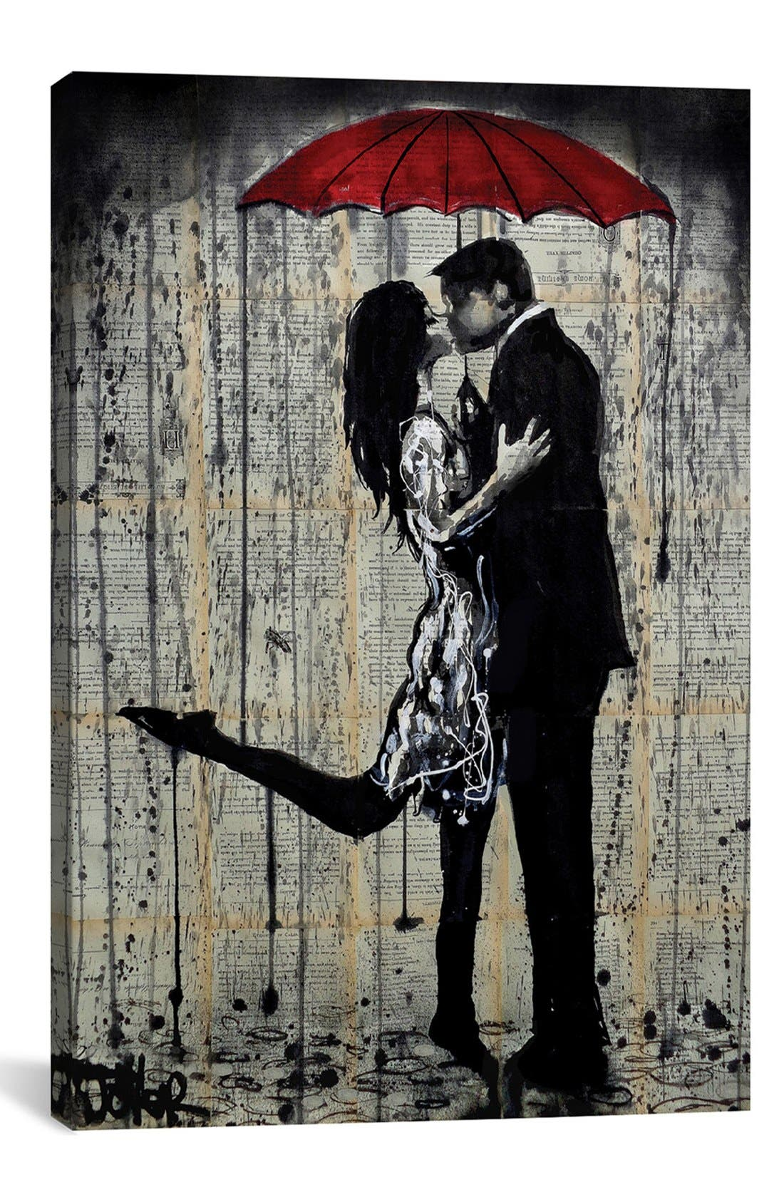 'Rainy Hearts' Giclée Print Canvas Art,                             Main thumbnail 1, color,                             Grey