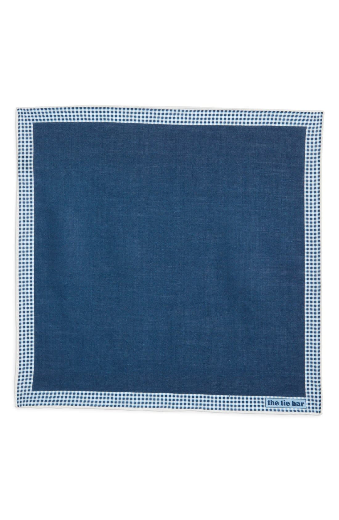 Alternate Image 2  - The Tie Bar Gingham Plaid Border Linen Pocket Square