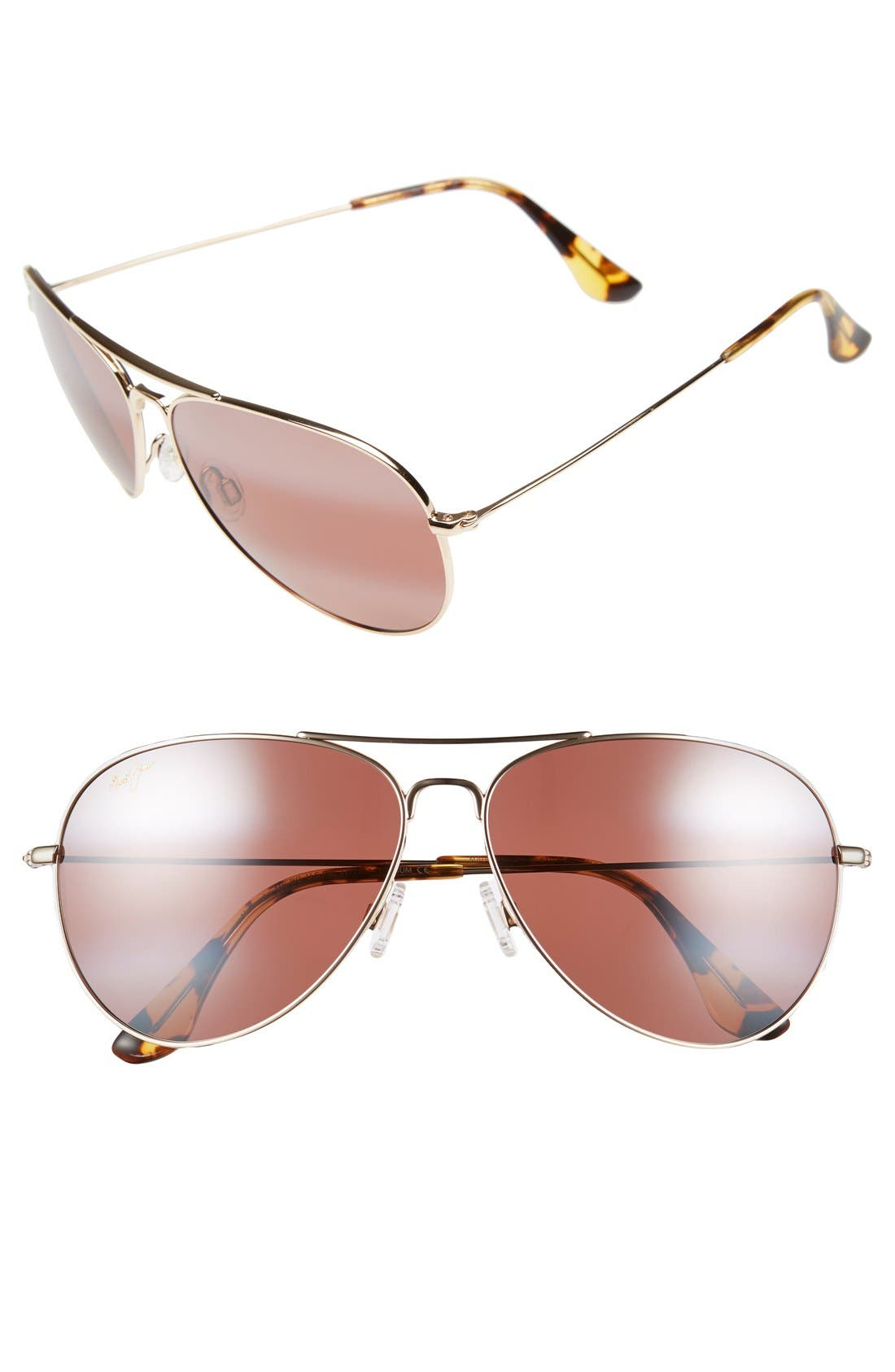MAVERICKS 61MM POLARIZEDPLUS2 AVIATOR SUNGLASSES - GOLD/ MAUI ROSE