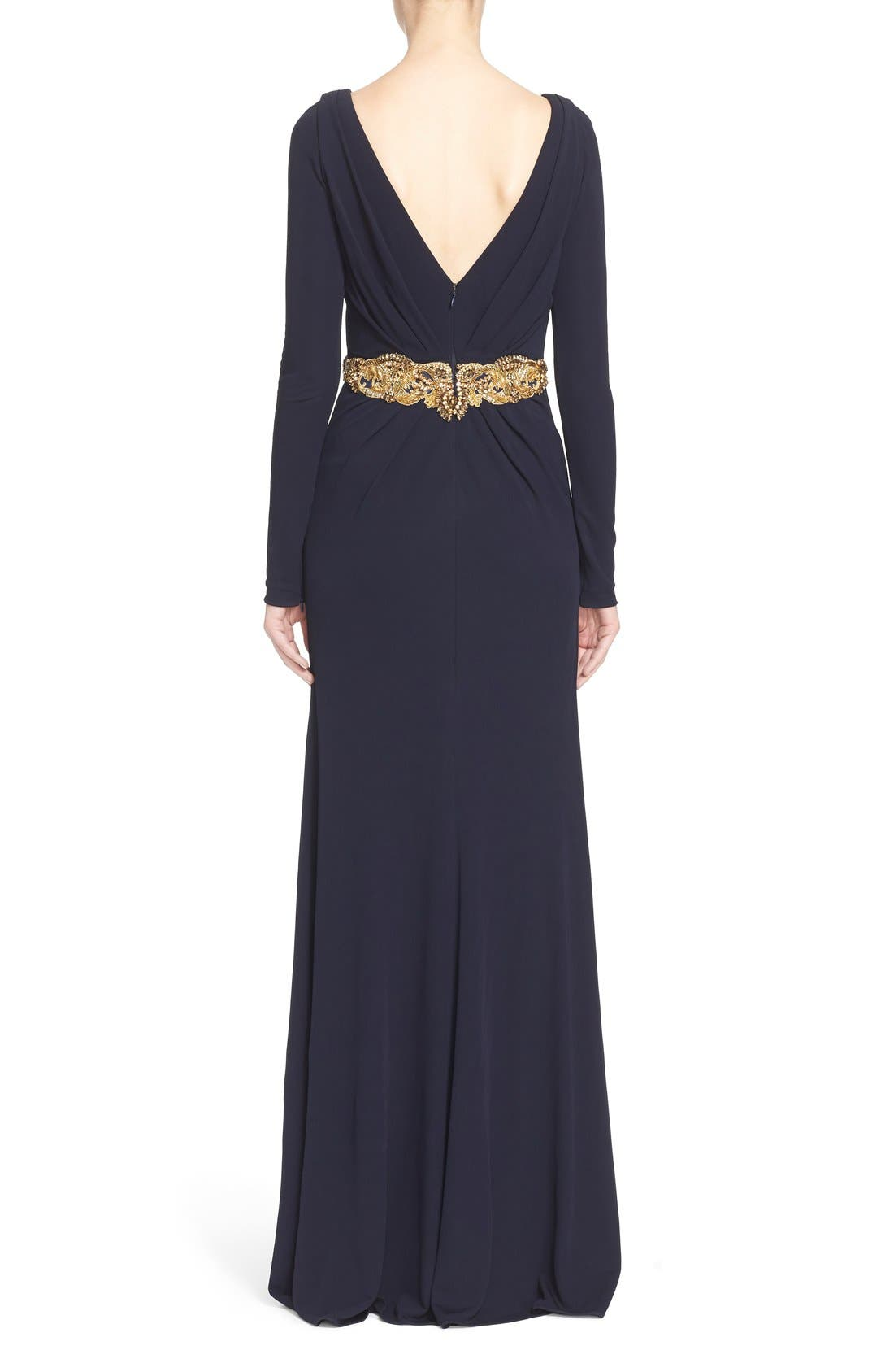 Couture Embellished Waist Plunging V-Neck Jersey Gown,                             Alternate thumbnail 2, color,                             Navy
