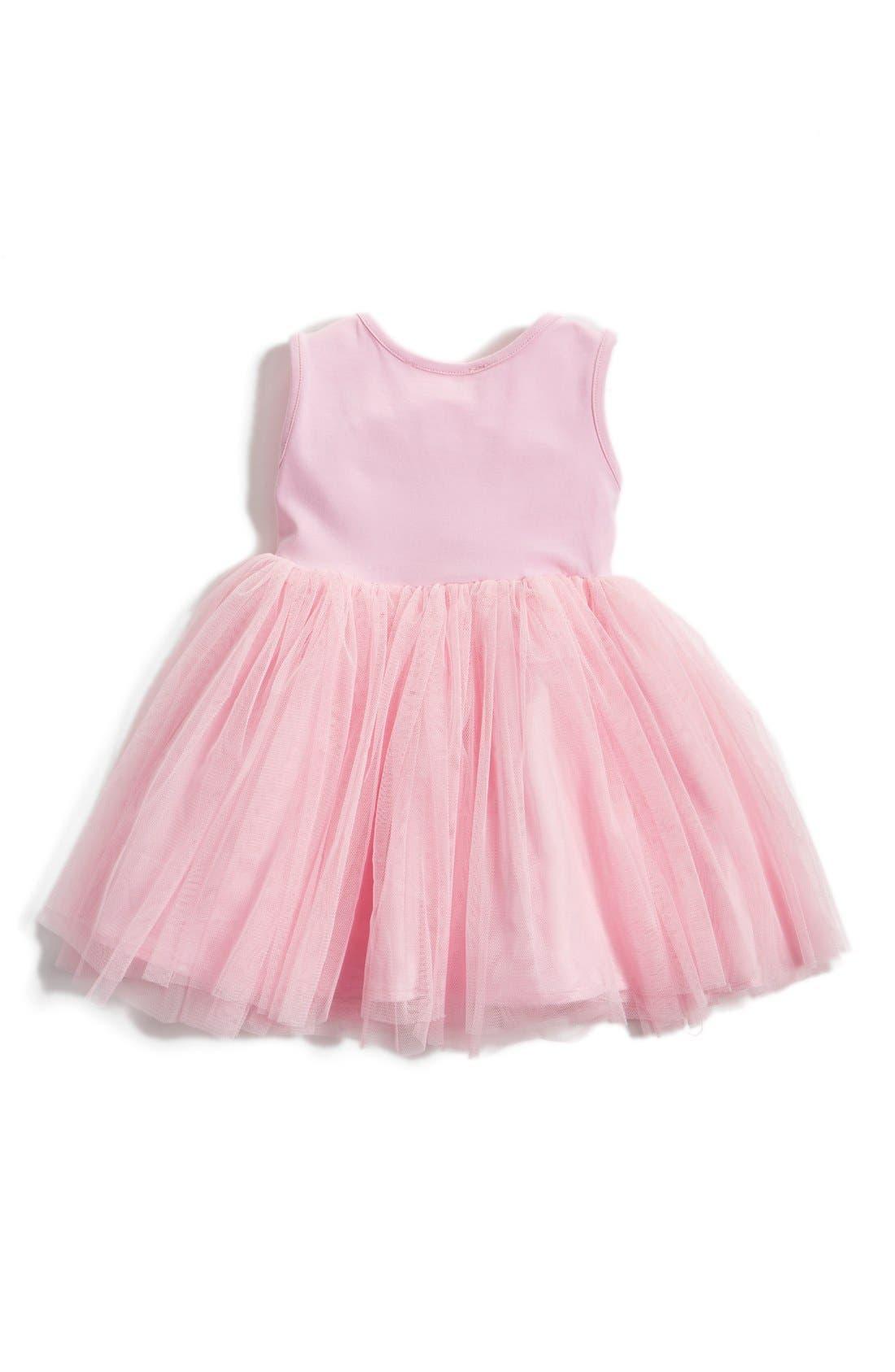Sequin Flower Tulle Dress,                             Alternate thumbnail 2, color,                             Pink