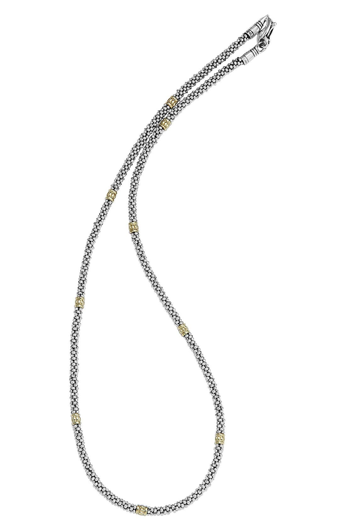 Caviar Rope Necklace,                             Alternate thumbnail 4, color,                             Silver/Gold