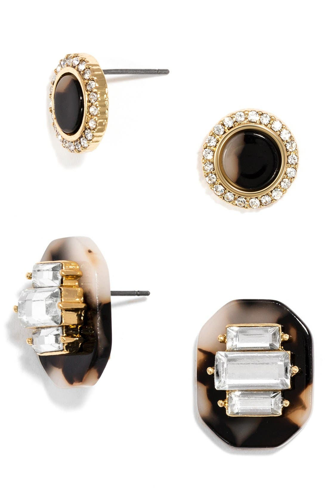 Main Image - BaubleBar 'Buchanan' Crystal & Tortoiseshell Earrings (Set of 2)