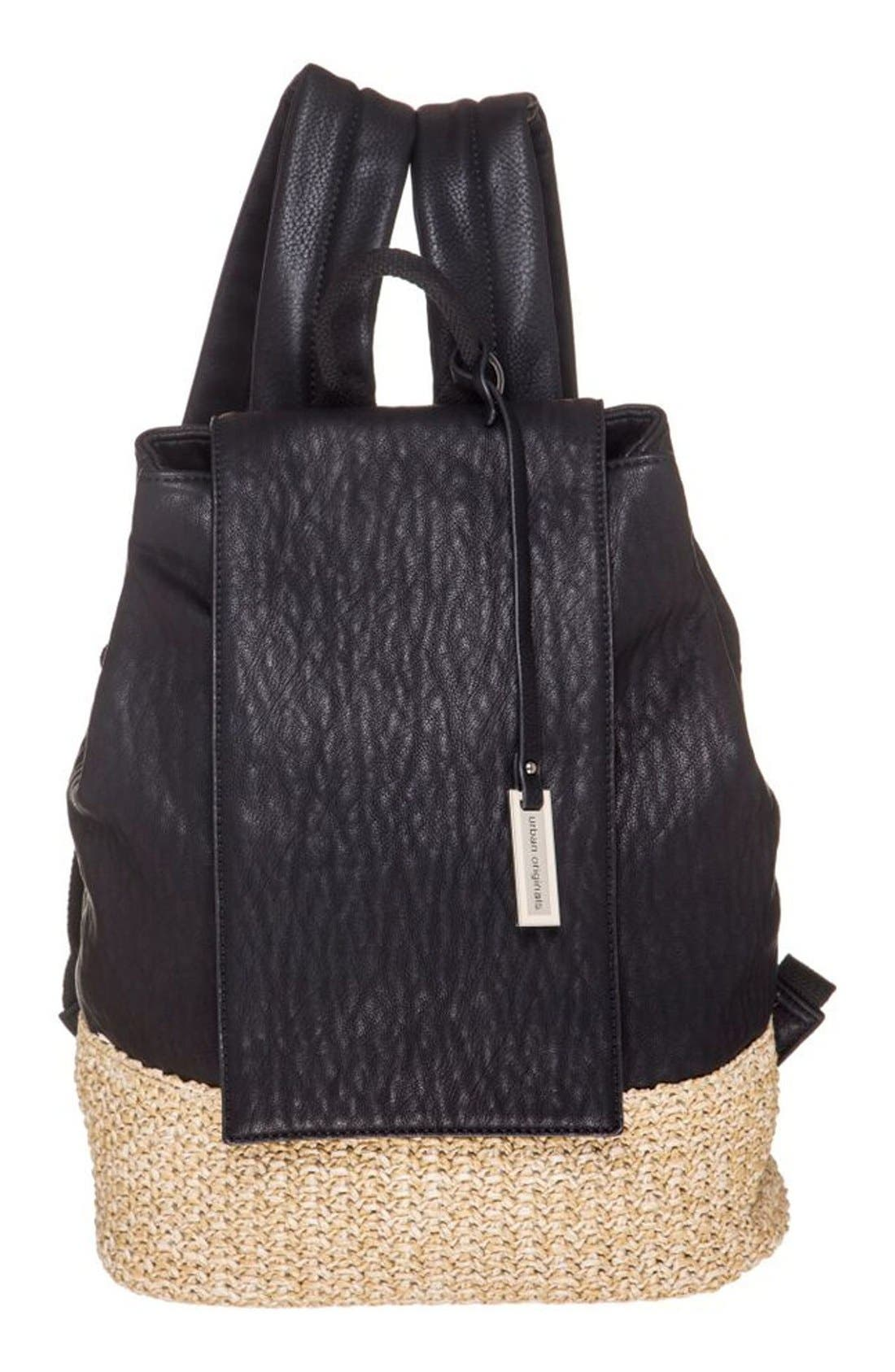 Main Image - Urban Originals 'Dune Diamond' Faux Leather & Straw Backpack