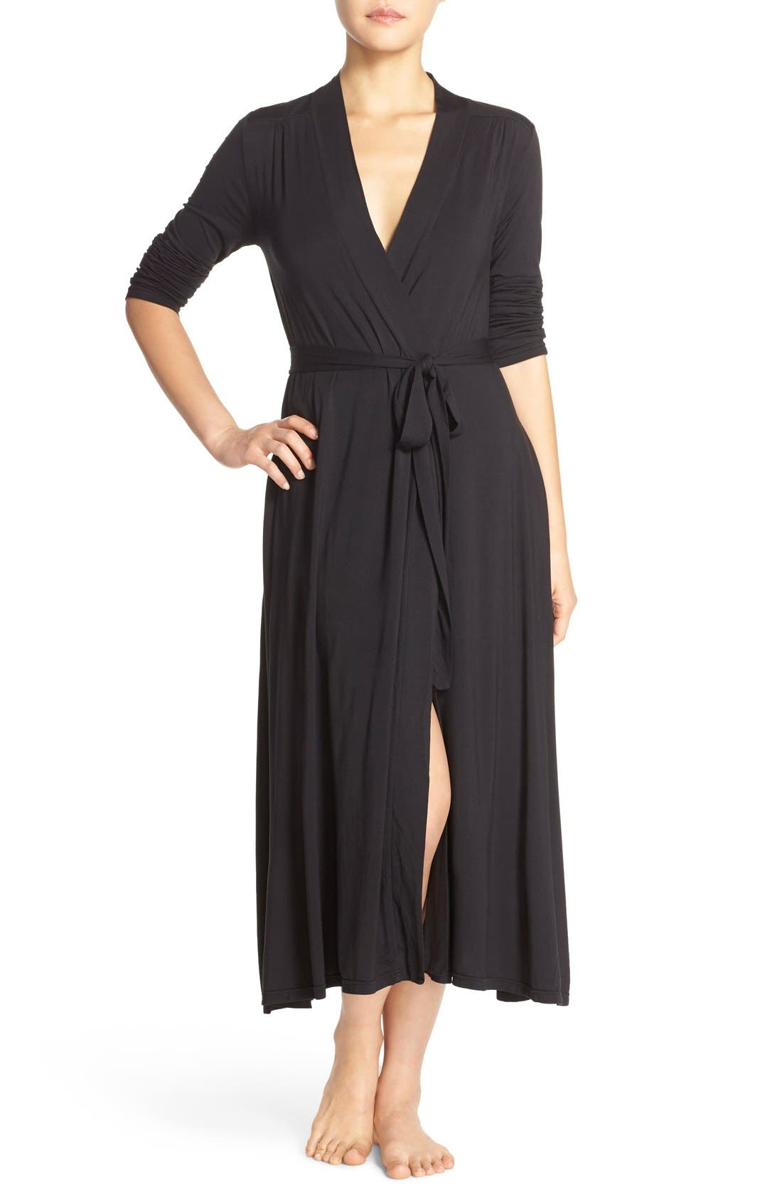 Luxe Long Jersey Robe,                             Main thumbnail 1, color,                             Black