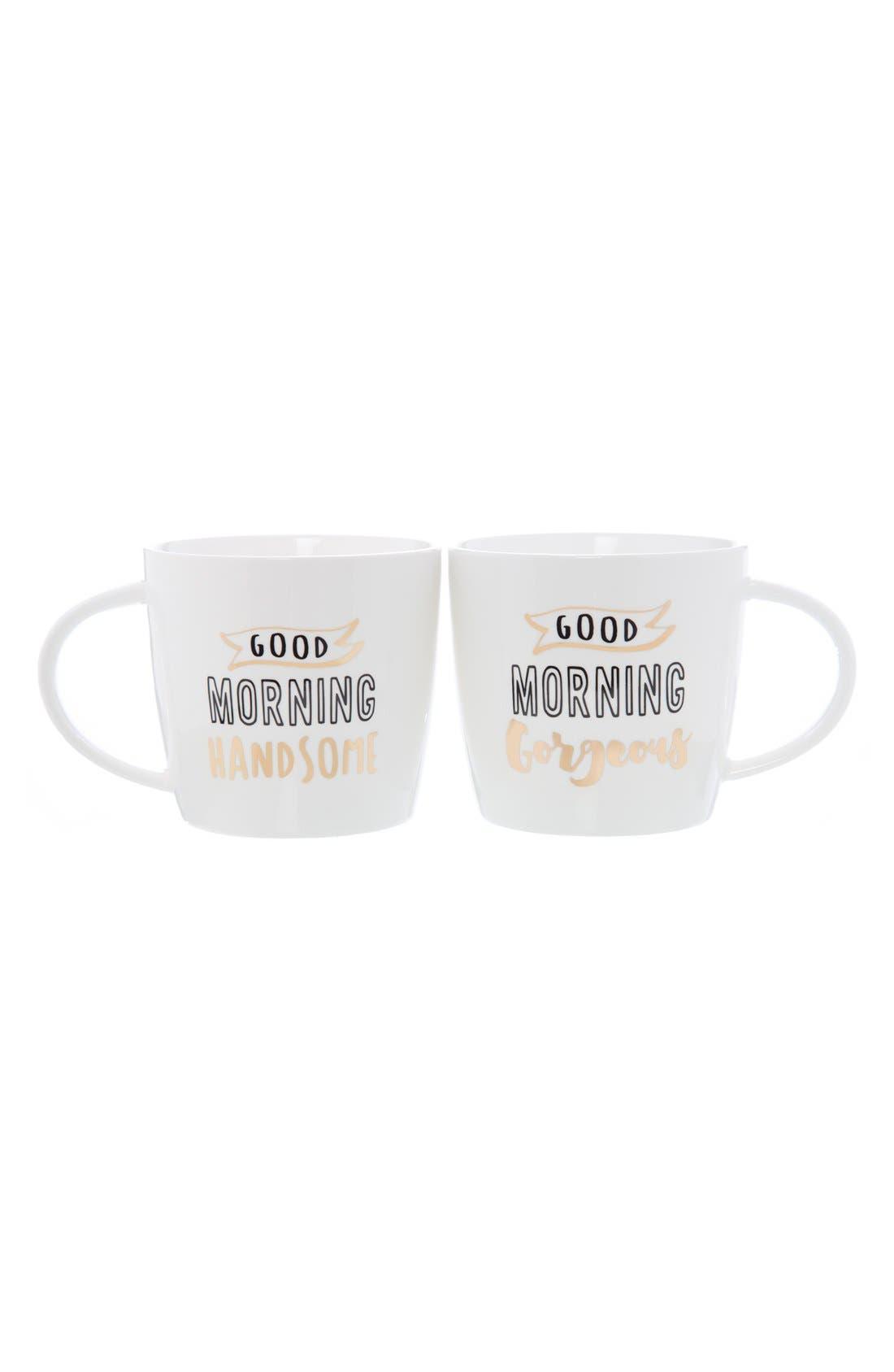 'Good Morning' Ceramic Coffee Mugs,                         Main,                         color, White