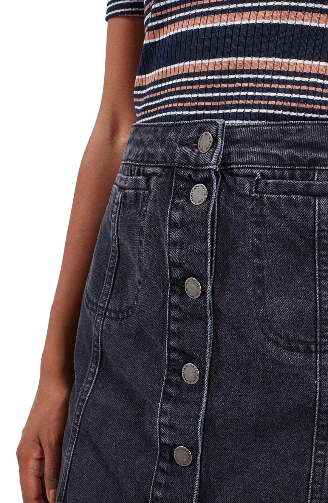 Alternate Image 5  - Topshop Button Front Denim A-Line Skirt