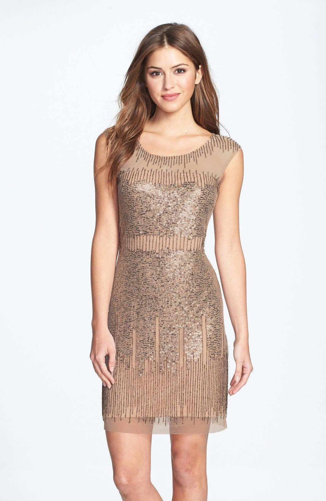 Alternate Image 1 Selected - Adrianna Papell Illusion Yoke Beaded Sheath Dress